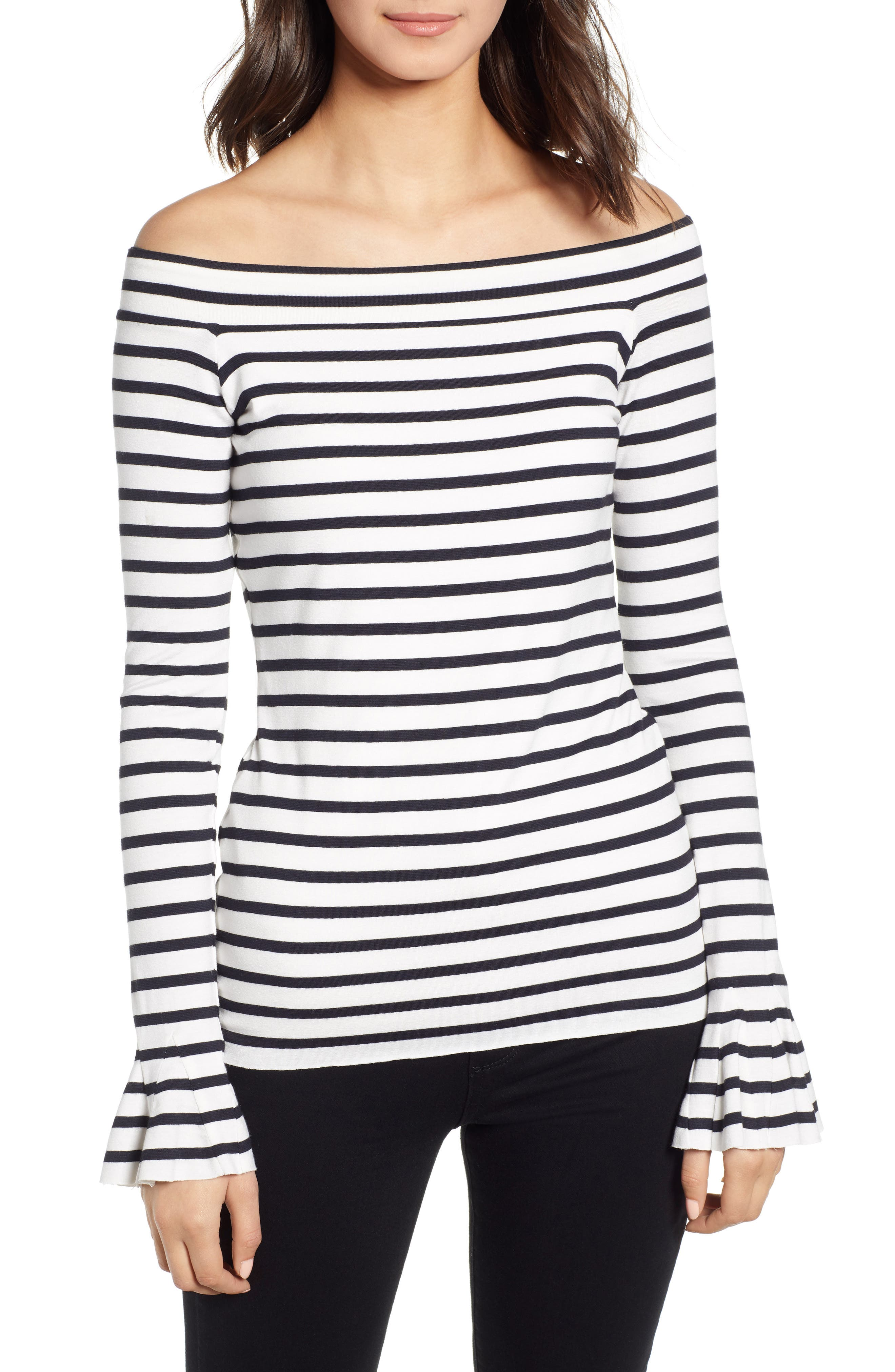 Bateau Venice Off-the-Shoulder Tee,                             Main thumbnail 1, color,                             CHALK/ MIDNIGHT