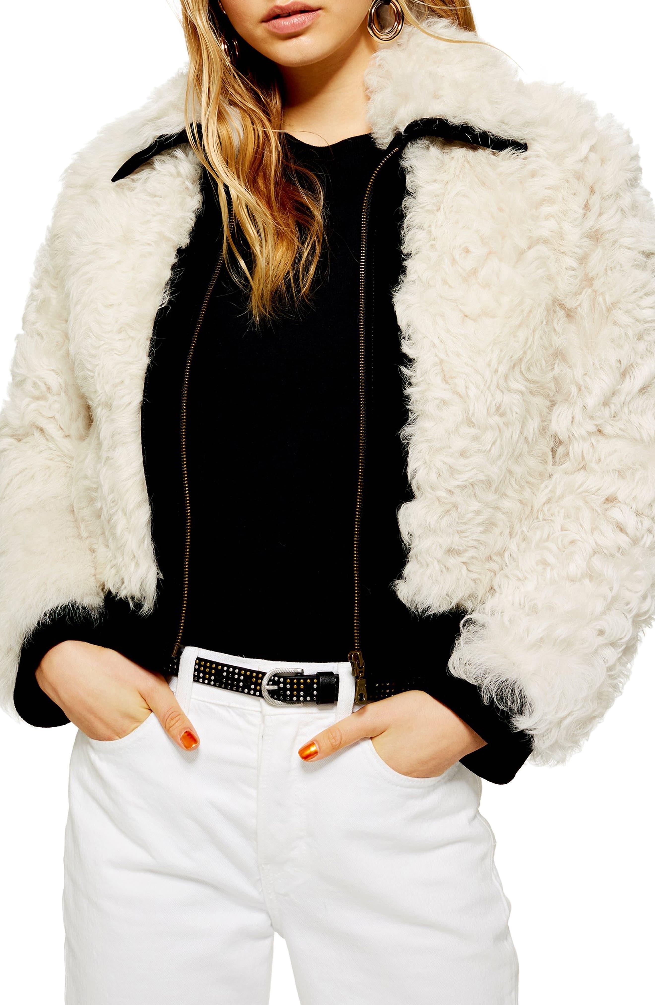 Topshop Genuine Shearling Jacket, Ivory