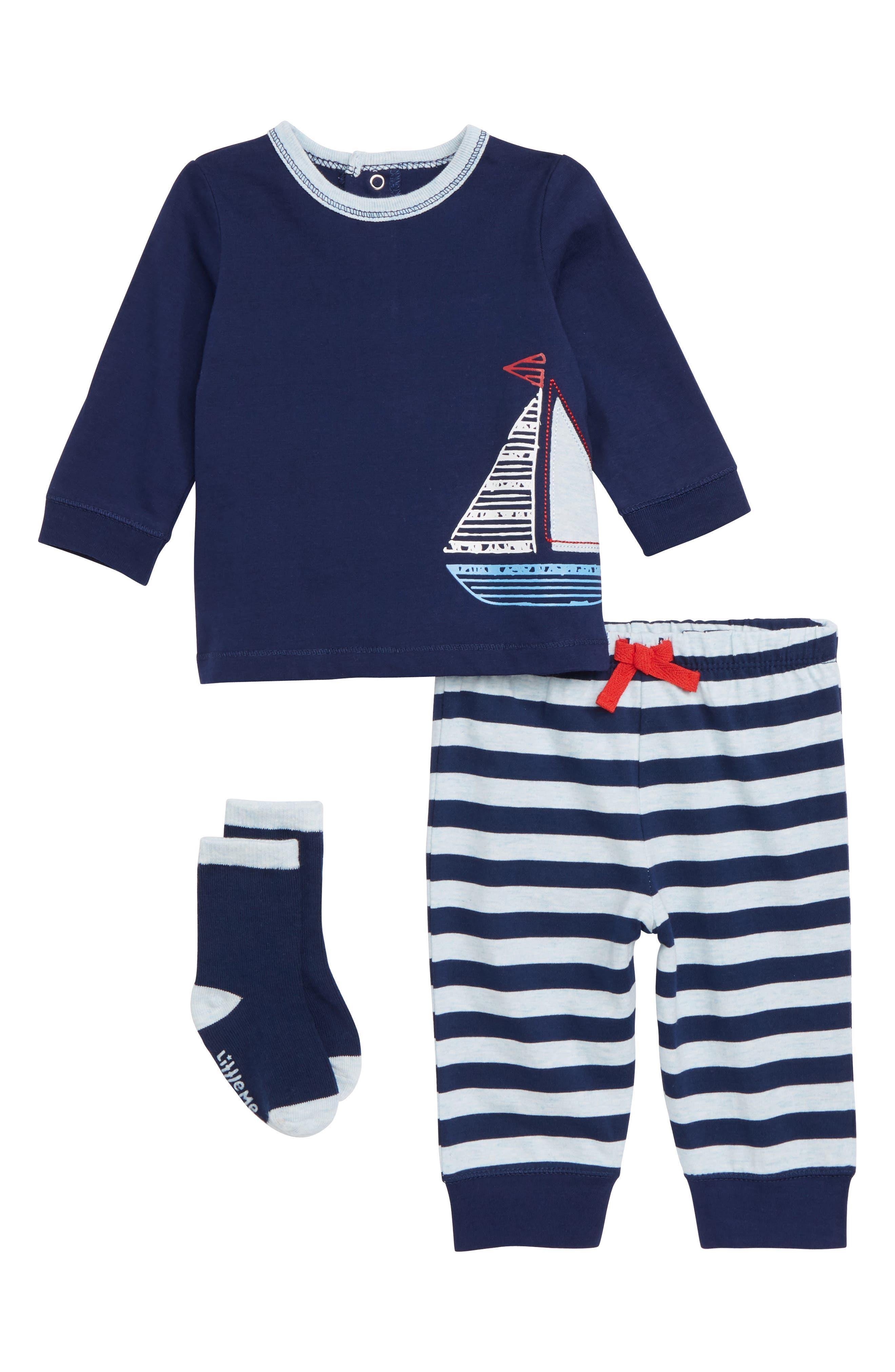 Sailboat T-Shirt, Pants & Socks Set,                             Main thumbnail 1, color,                             415