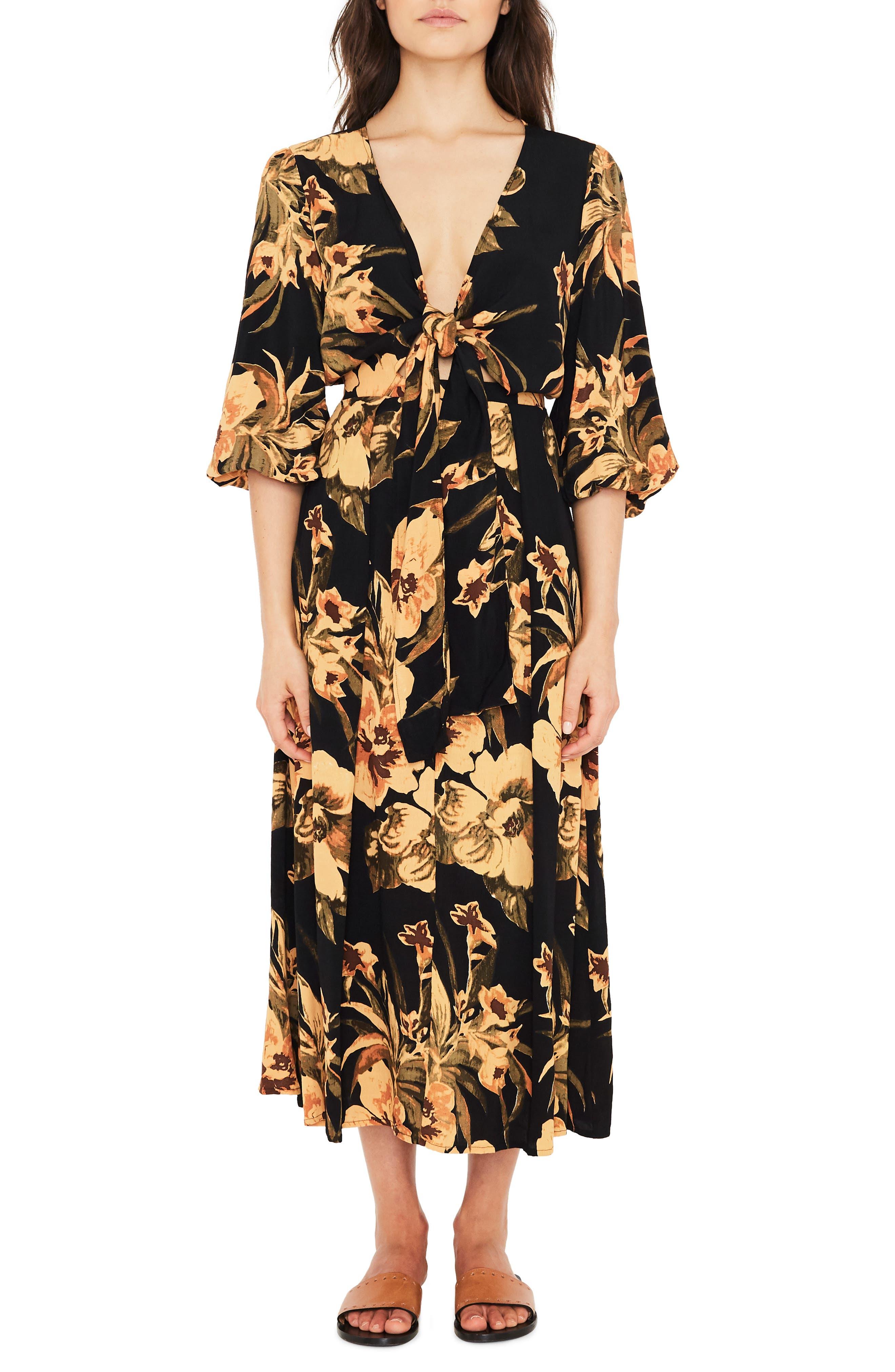 Oliviera Floral Print Cutout Midi Dress,                         Main,                         color, CARIBBEAN PRINT