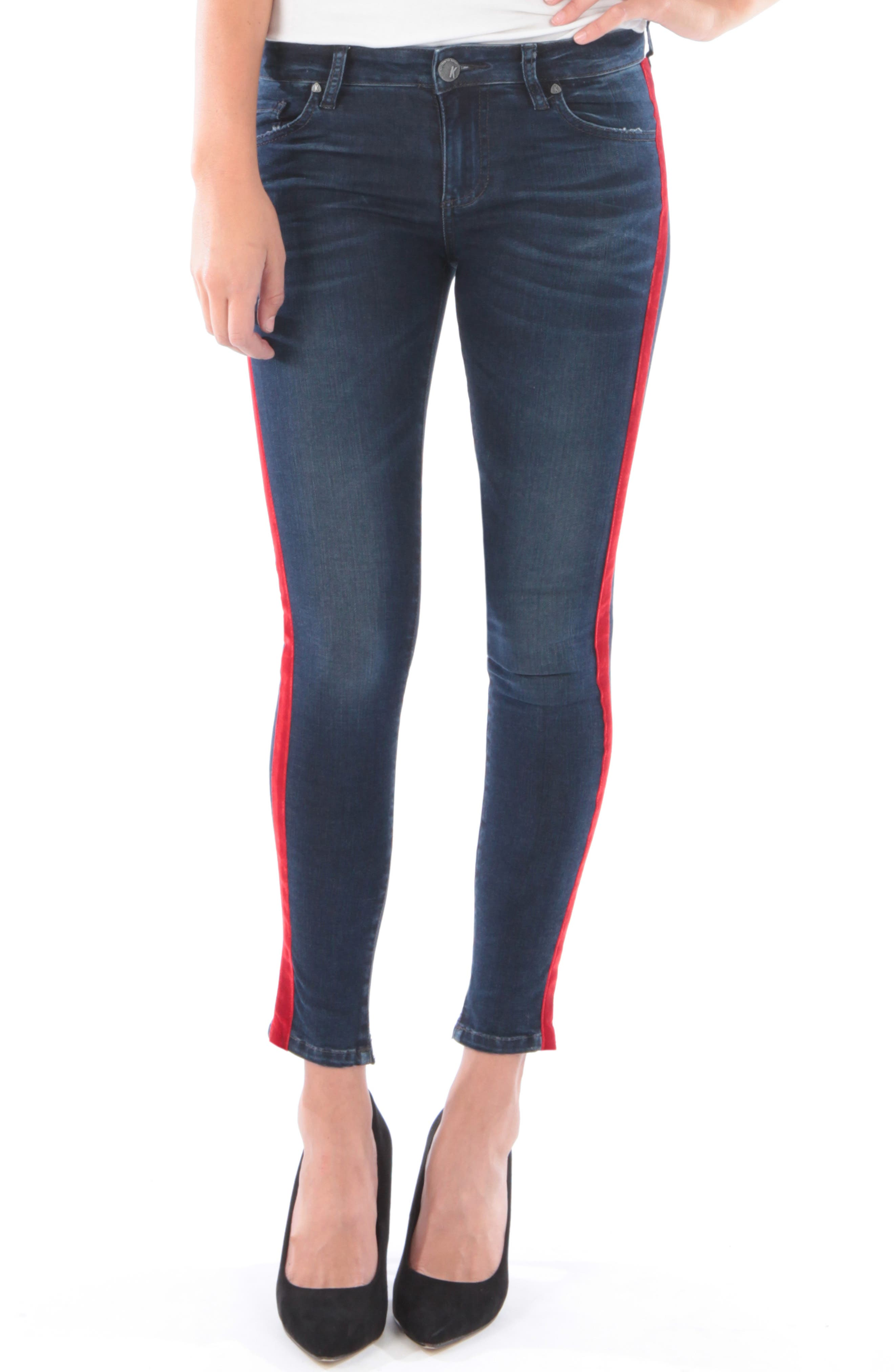 Kut From The Kloth Connie Side Stripe Ankle Skinny Jeans, Blue