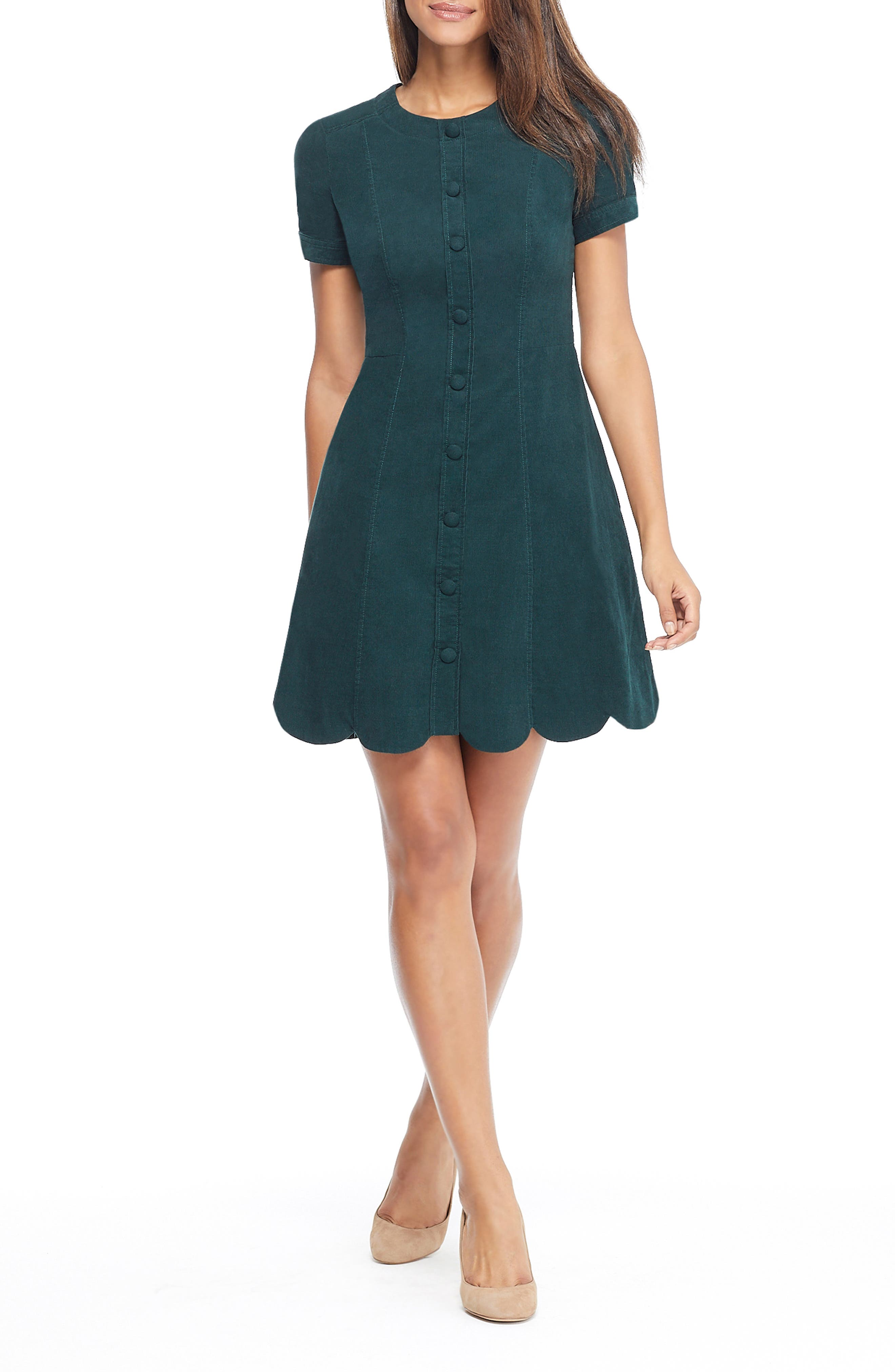 Michelle Micro Corduroy Fit & Flare Dress, Main, color, GREEN
