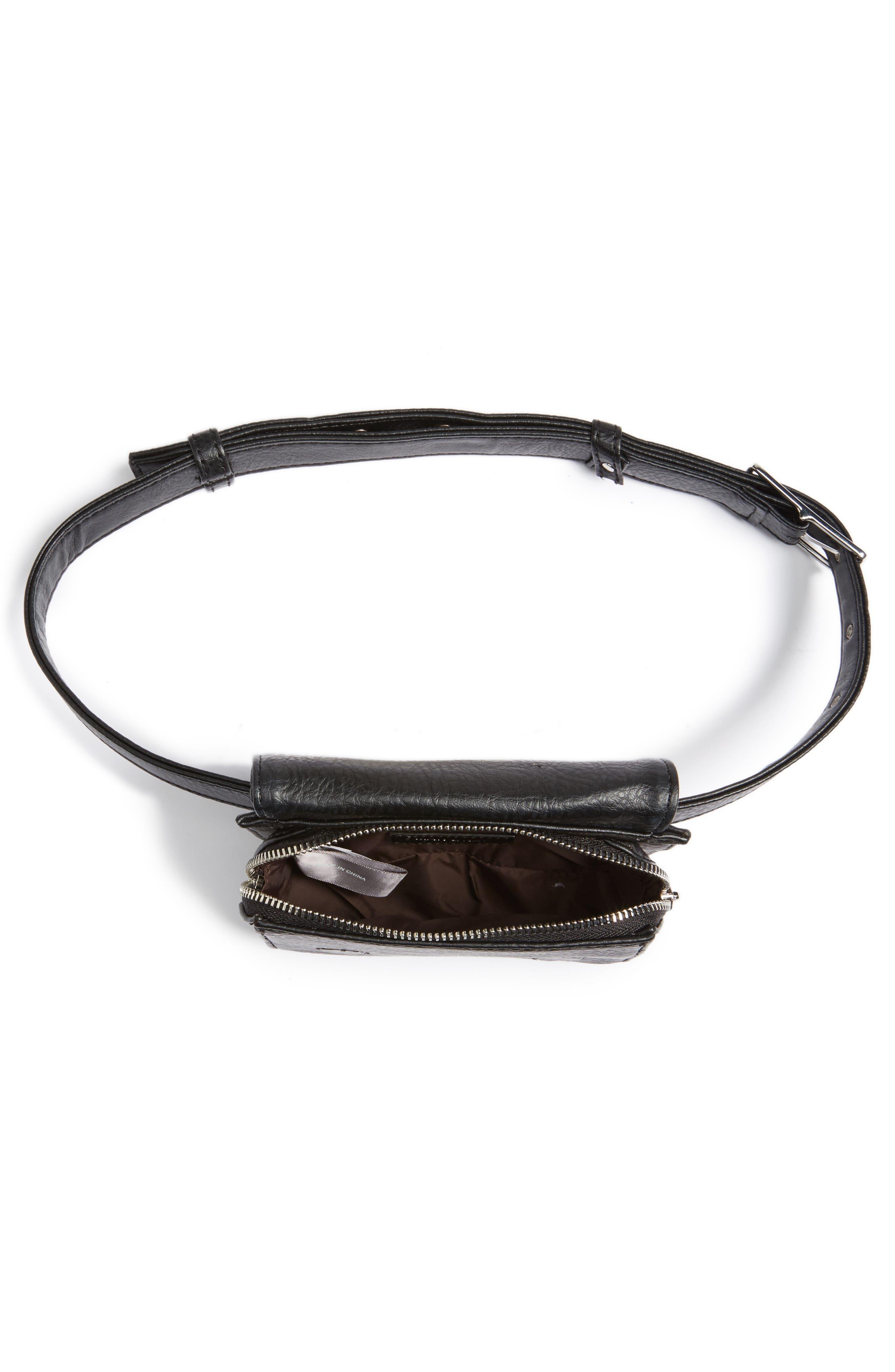 Aki Faux Leather Belt Bag,                             Alternate thumbnail 4, color,                             001