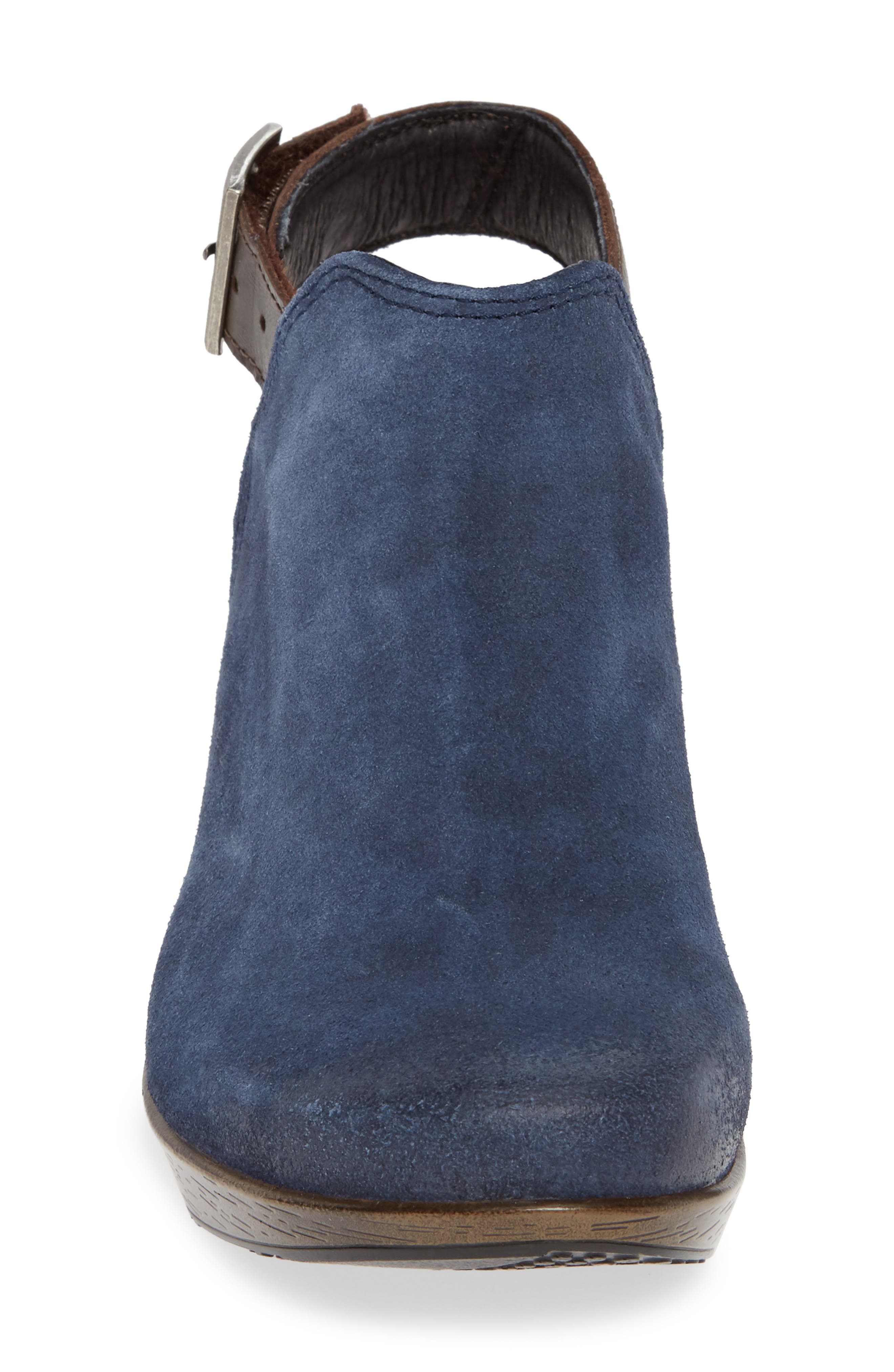 Upgrade Bootie,                             Alternate thumbnail 4, color,                             BLUE/ WALNUT SUEDE/ LEATHER