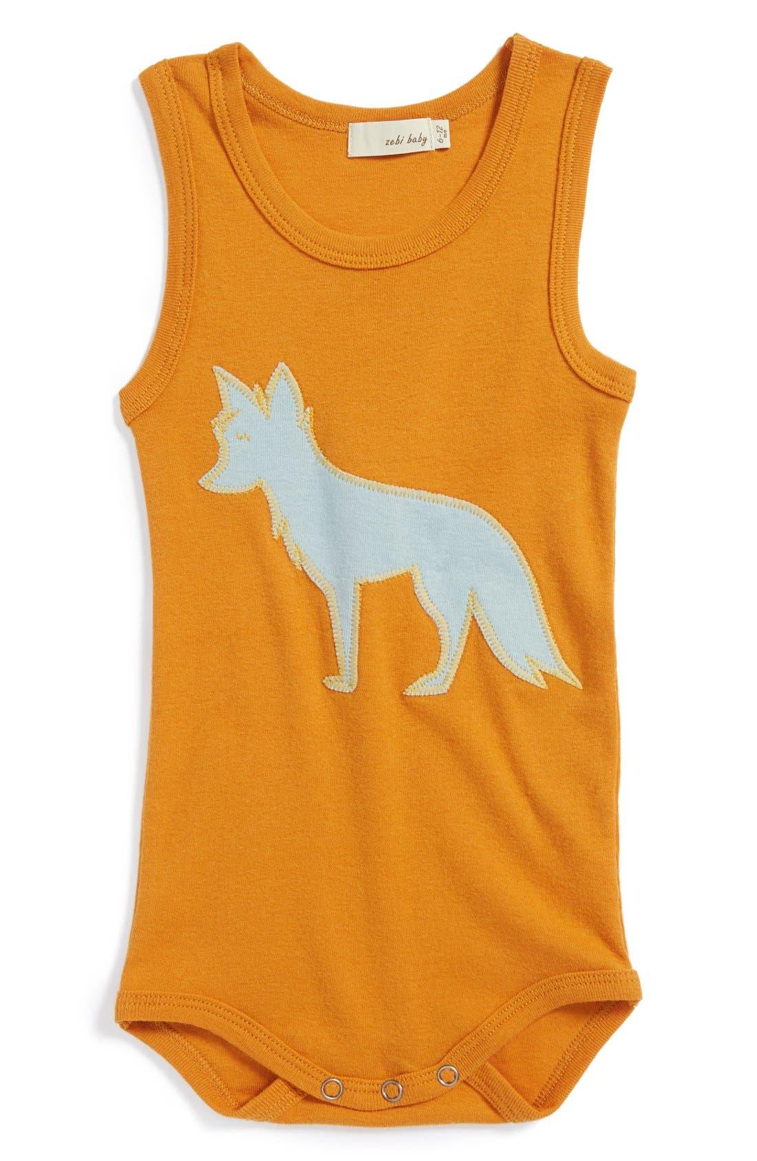 Zebi Baby 'Fox' Organic Cotton Bodysuit, Main, color, 800