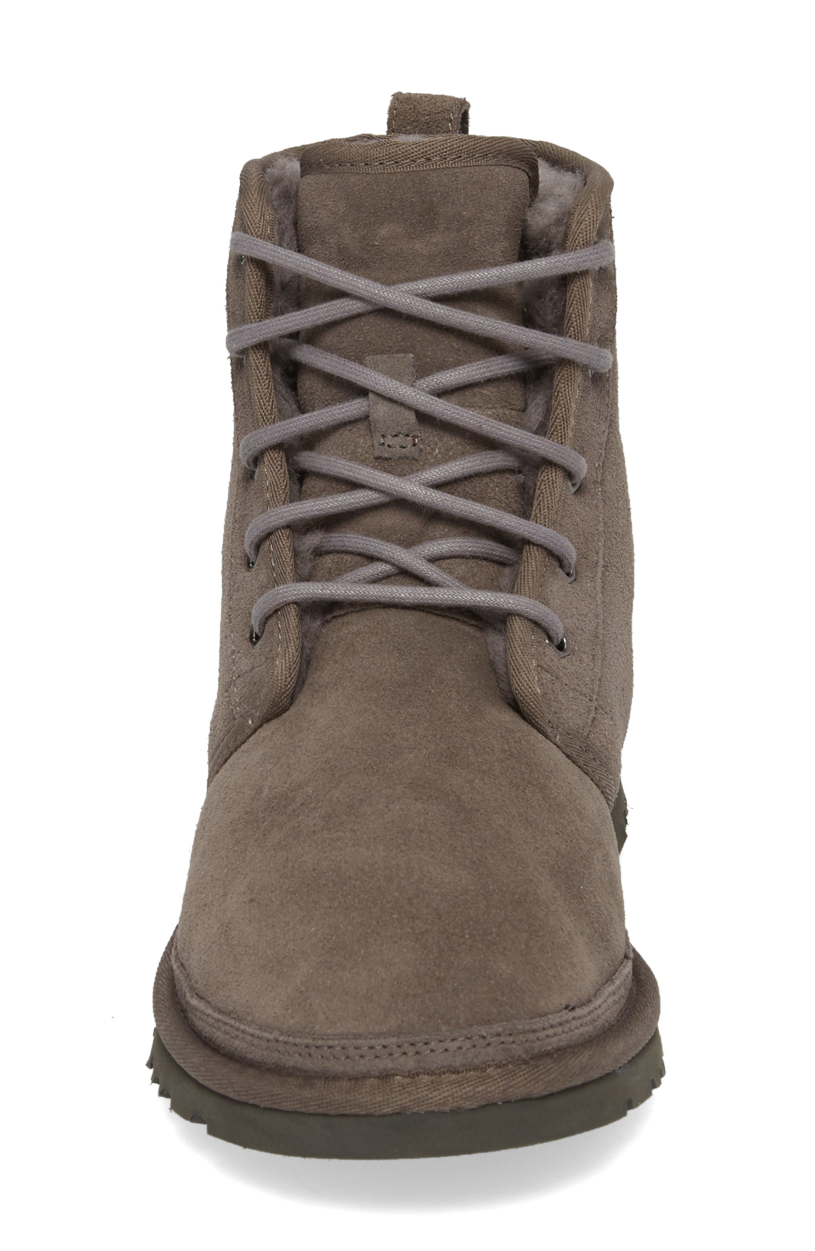 Harkley Lace-Up Boot,                             Alternate thumbnail 4, color,                             CHARCOAL SUEDE