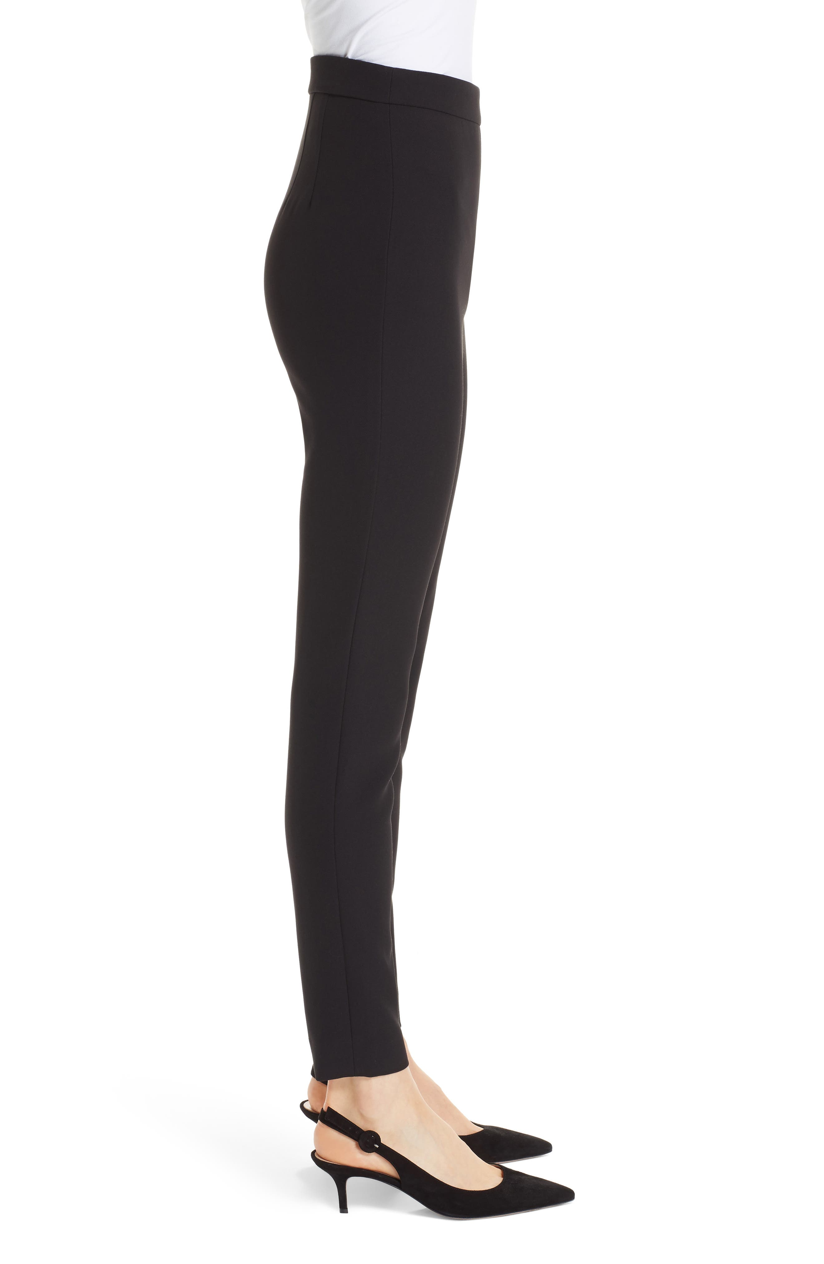 Bella Double Weave Skinny Pants,                             Alternate thumbnail 3, color,                             CAVIAR