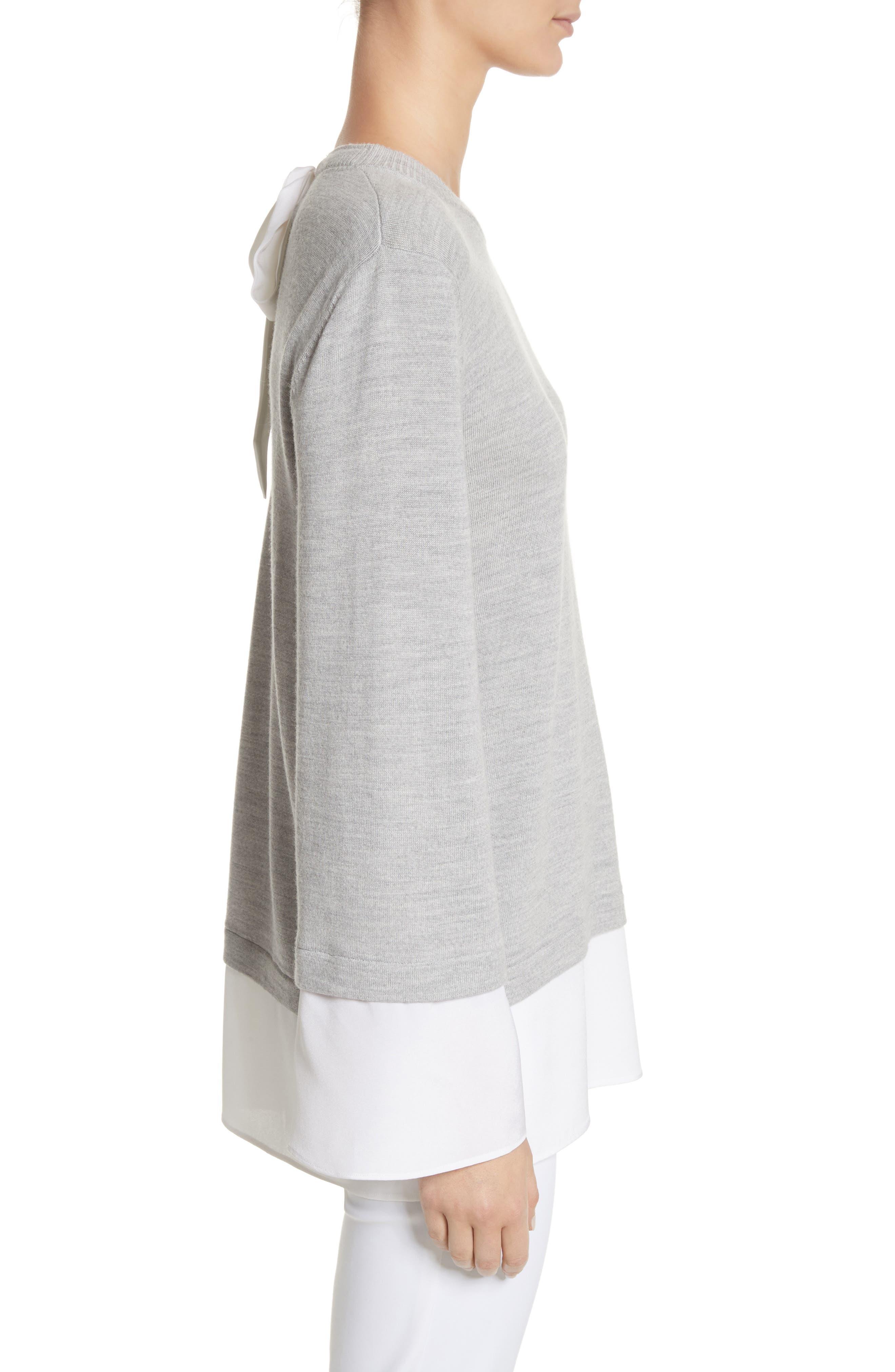 Layered Hem Wool Sweater,                             Alternate thumbnail 3, color,                             050