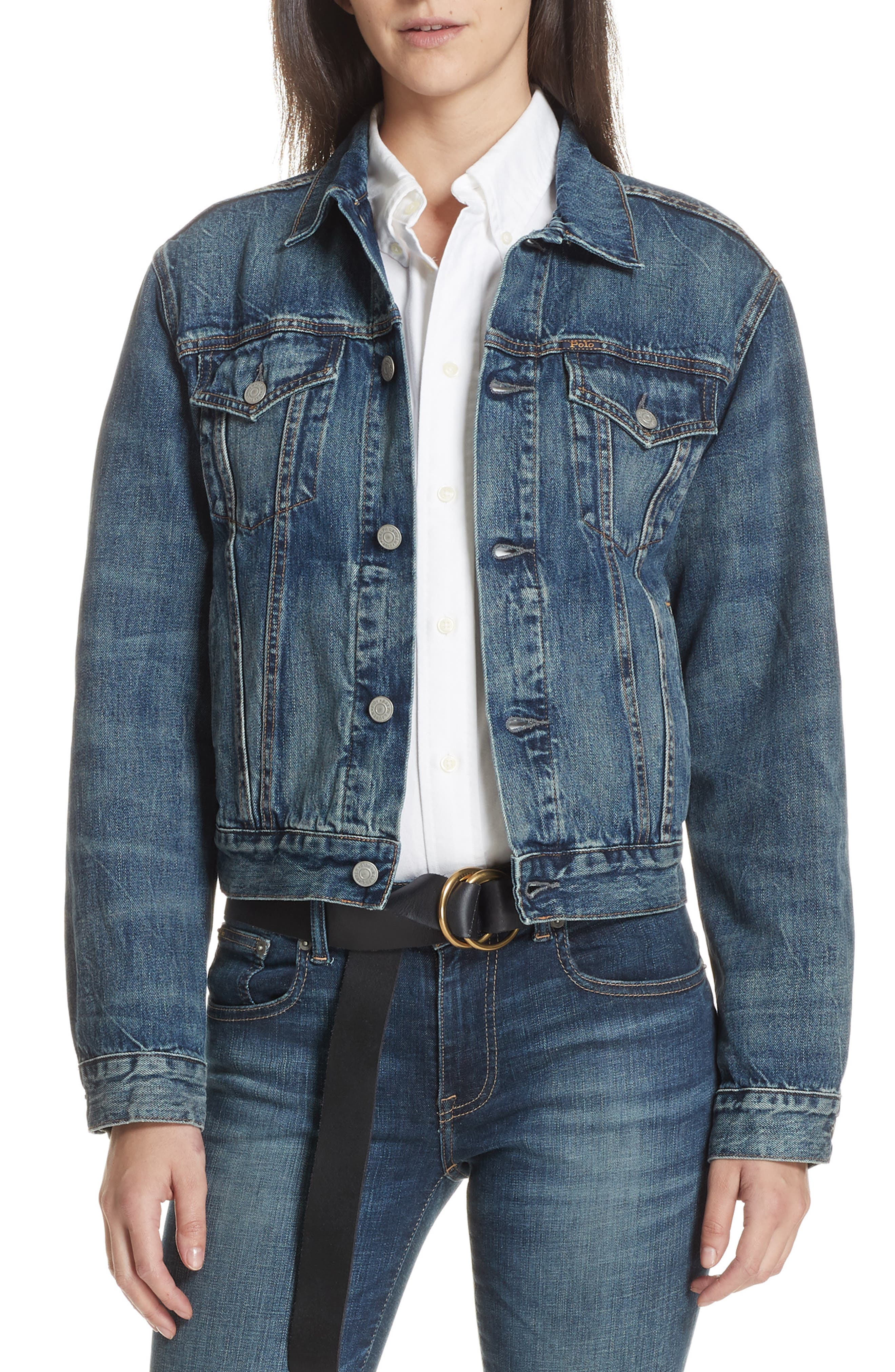 Flag Trucker Denim Jacket,                             Main thumbnail 1, color,                             DARK INDIGO