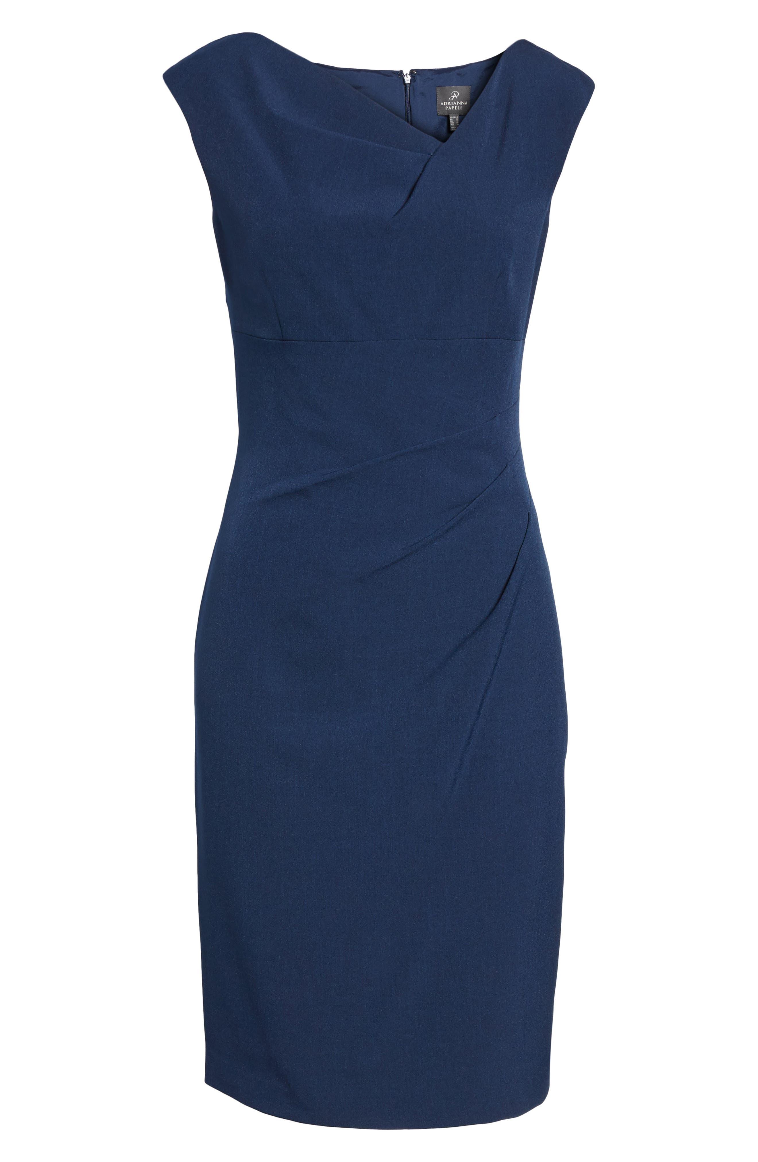 Drape Neck Crepe Sheath Dress,                             Main thumbnail 1, color,                             401