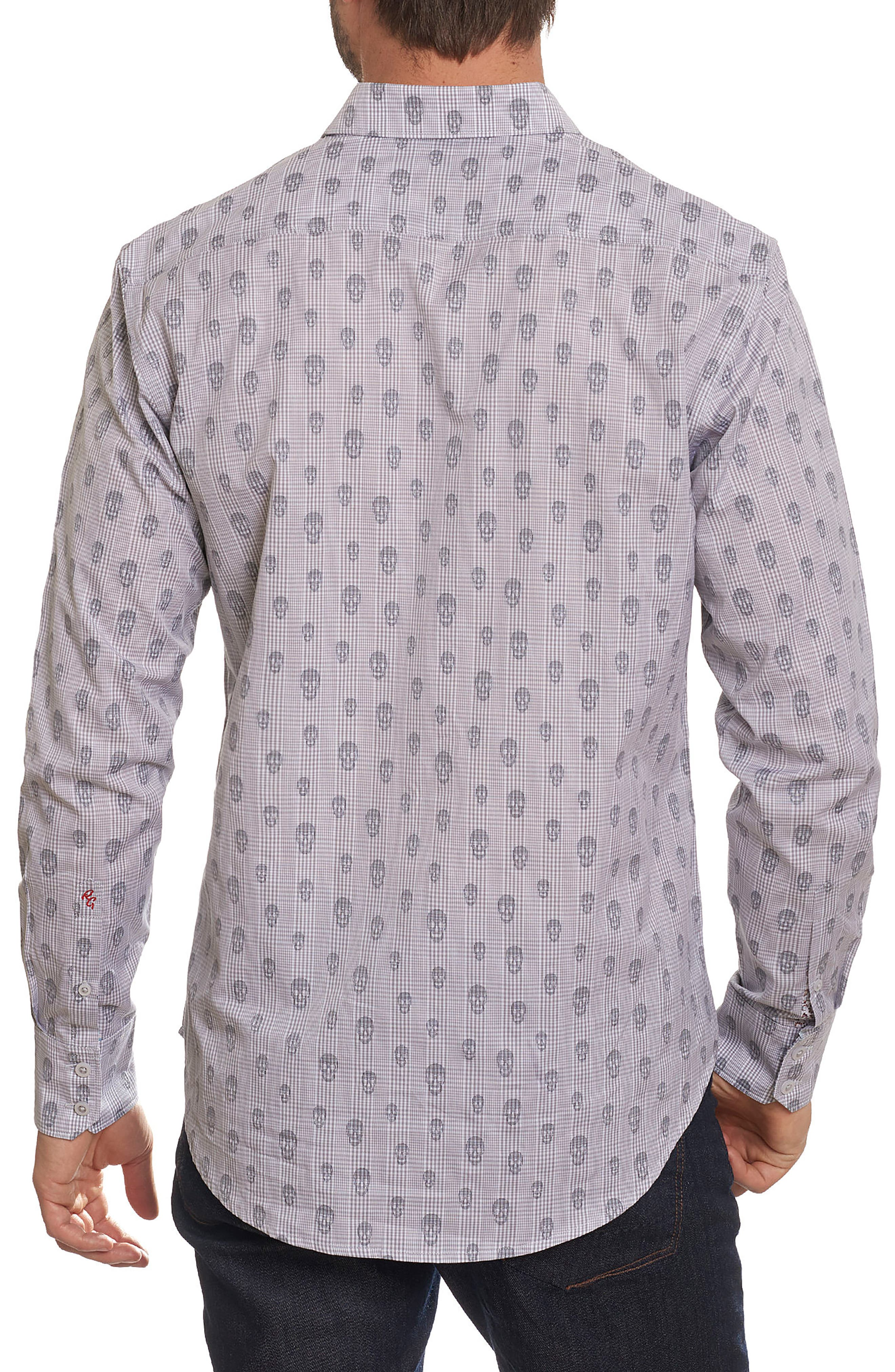 Kinderhook Classic Fit Skull Check Sport Shirt,                             Alternate thumbnail 4, color,