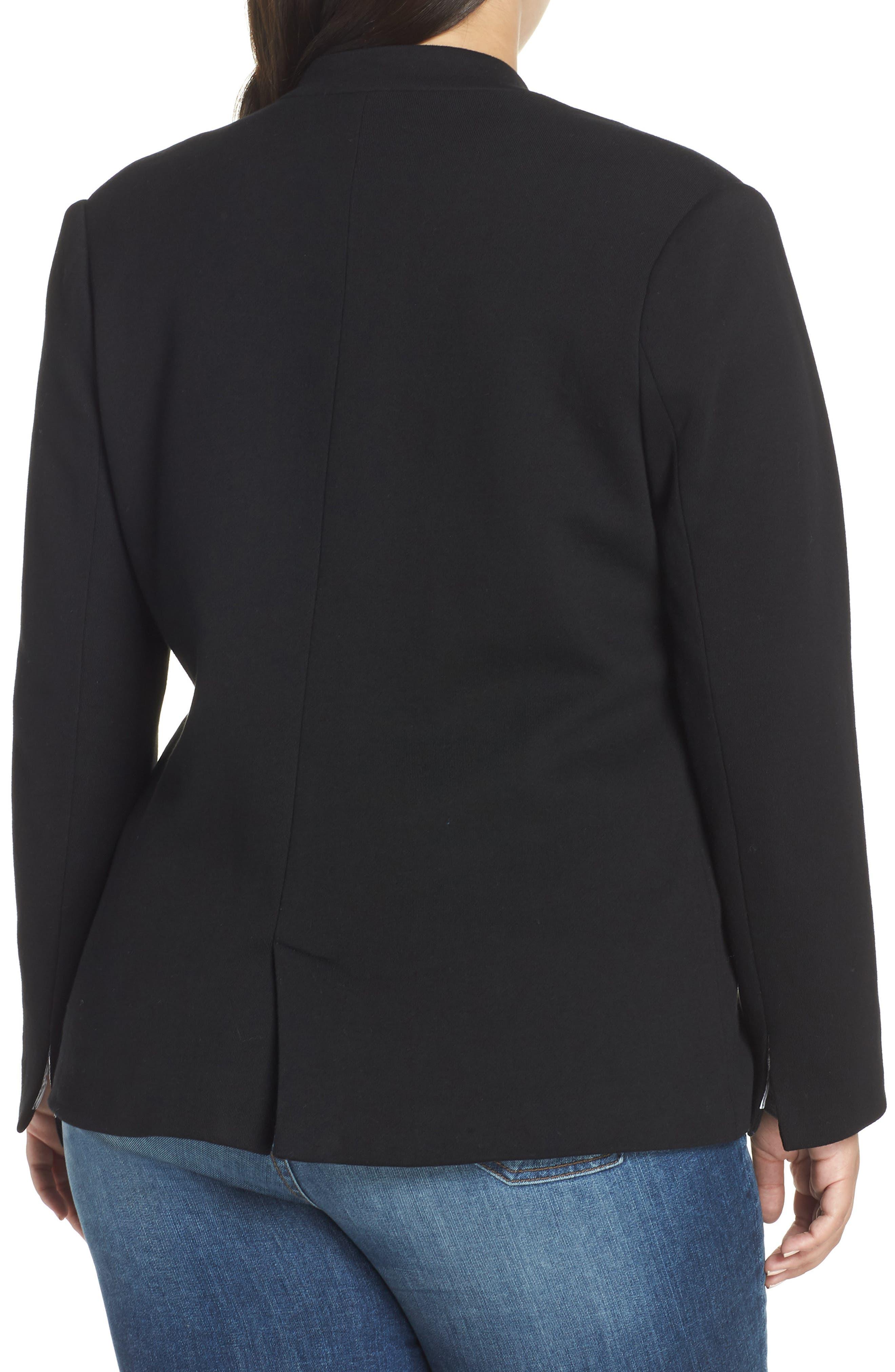 GIBSON,                             Inverted Notch Collar Cotton Blend Blazer,                             Alternate thumbnail 2, color,                             BLACK