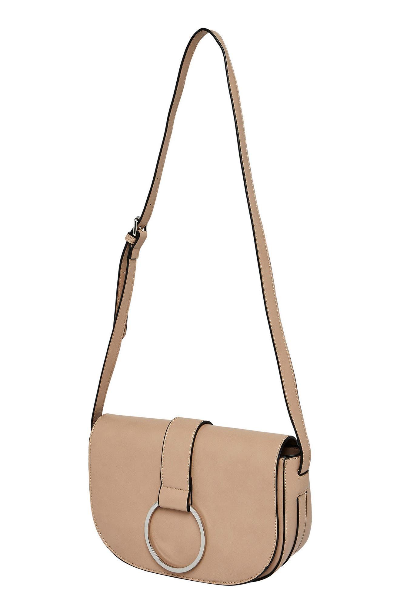 Lola Vegan Leather Crossbody Saddle Bag,                             Alternate thumbnail 3, color,                             PINK