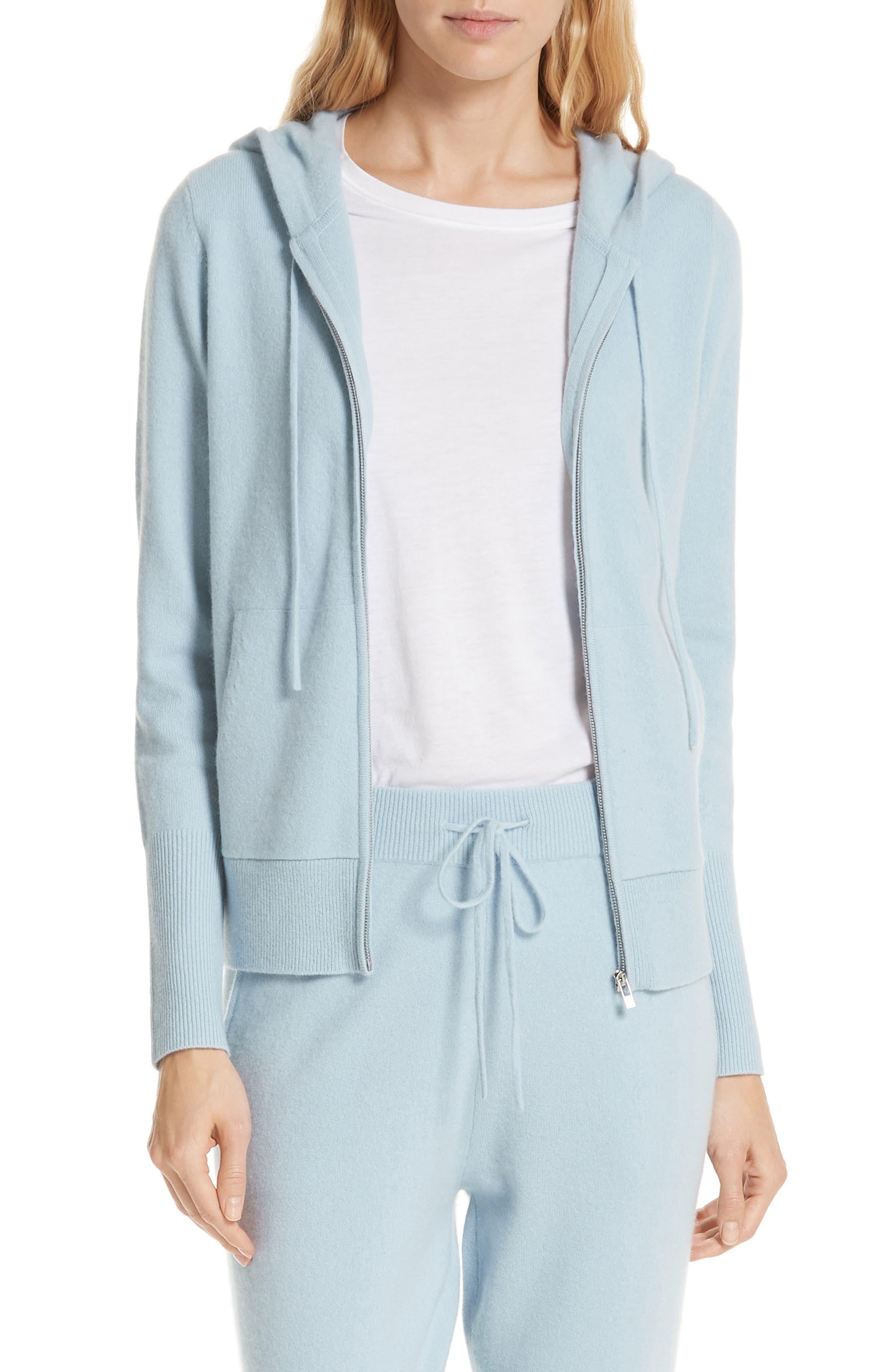 Cashmere Blend Zip Front Hoodie,                         Main,                         color, BLUE FOG