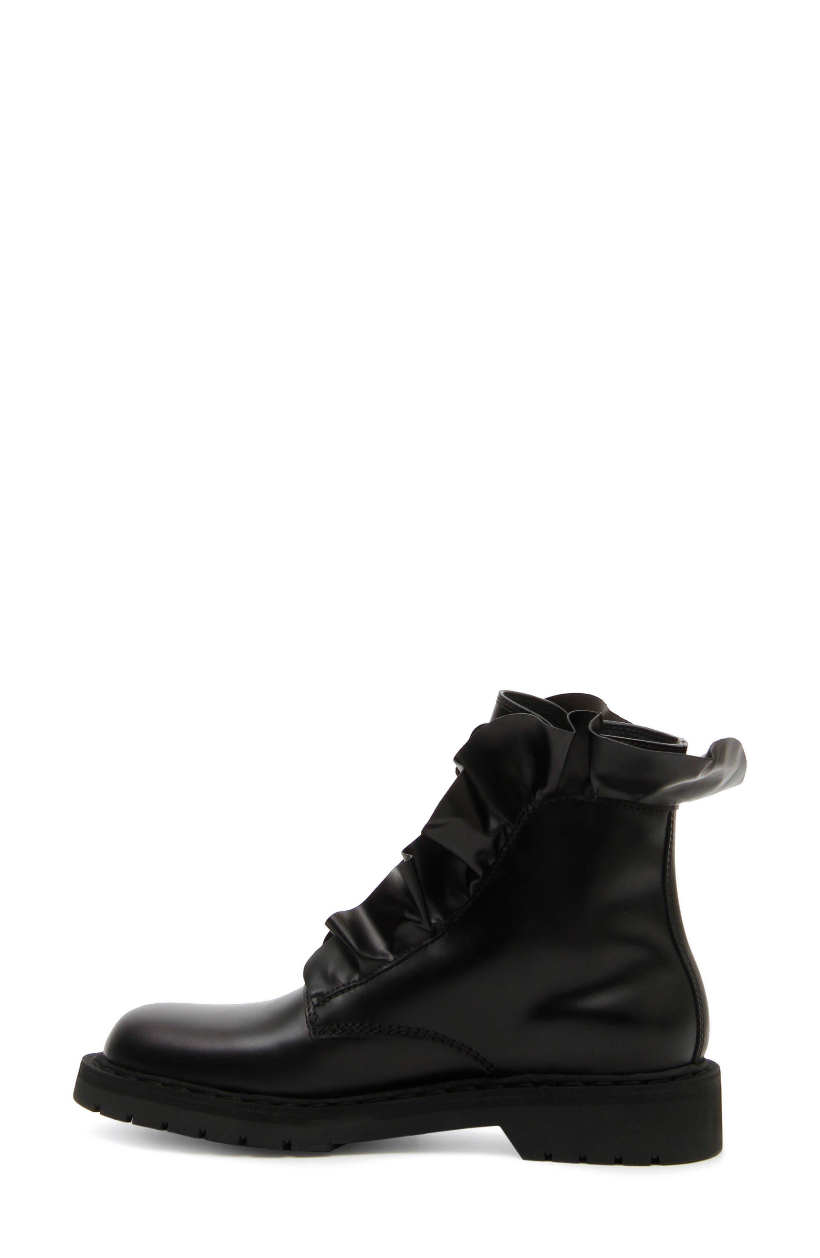 Heart Ruffle Combat Boot,                             Alternate thumbnail 3, color,                             BLACK