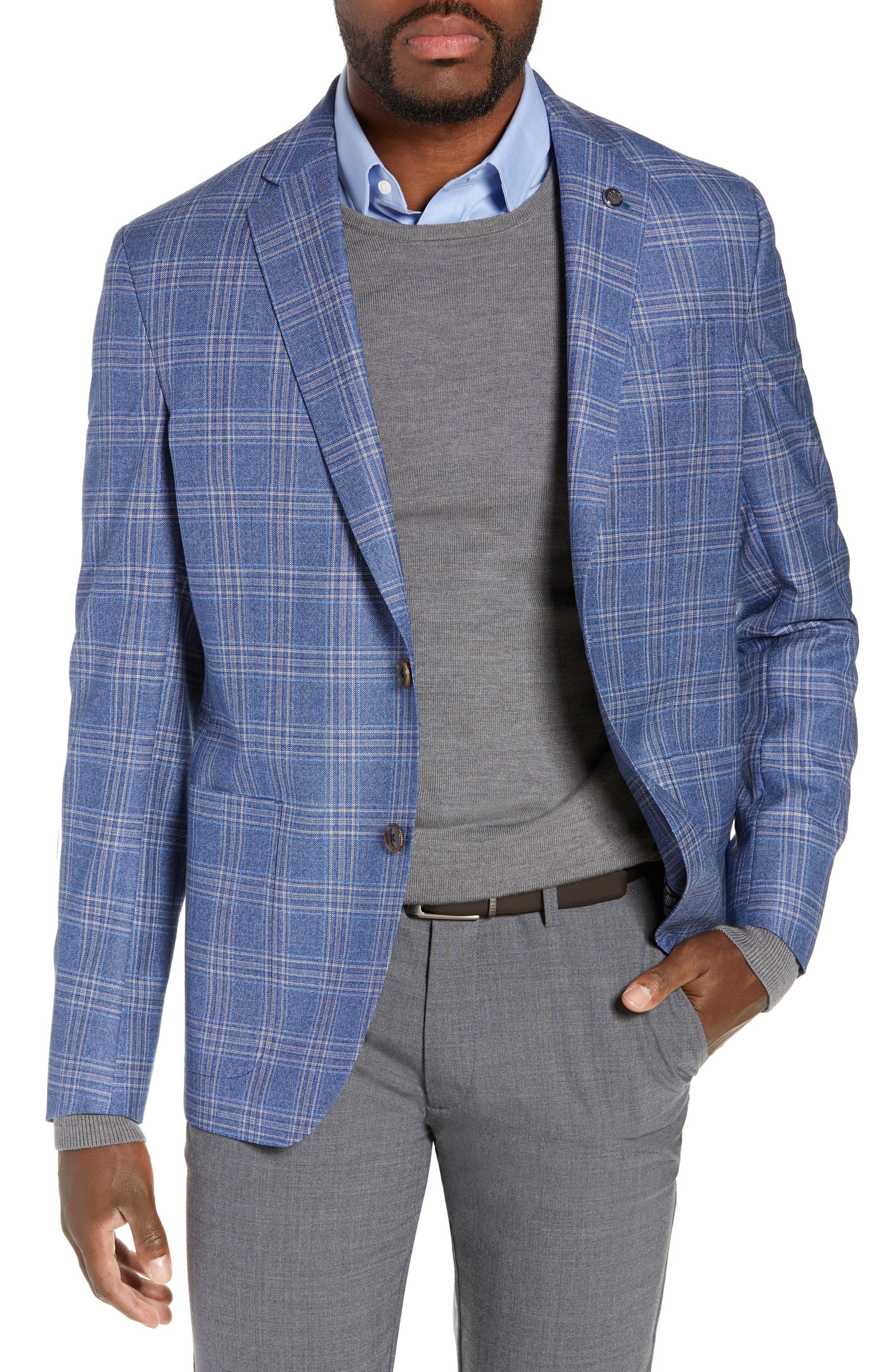 Kyle Trim Fit Plaid Wool Sport Coat, Main, color, LIGHT BLUE