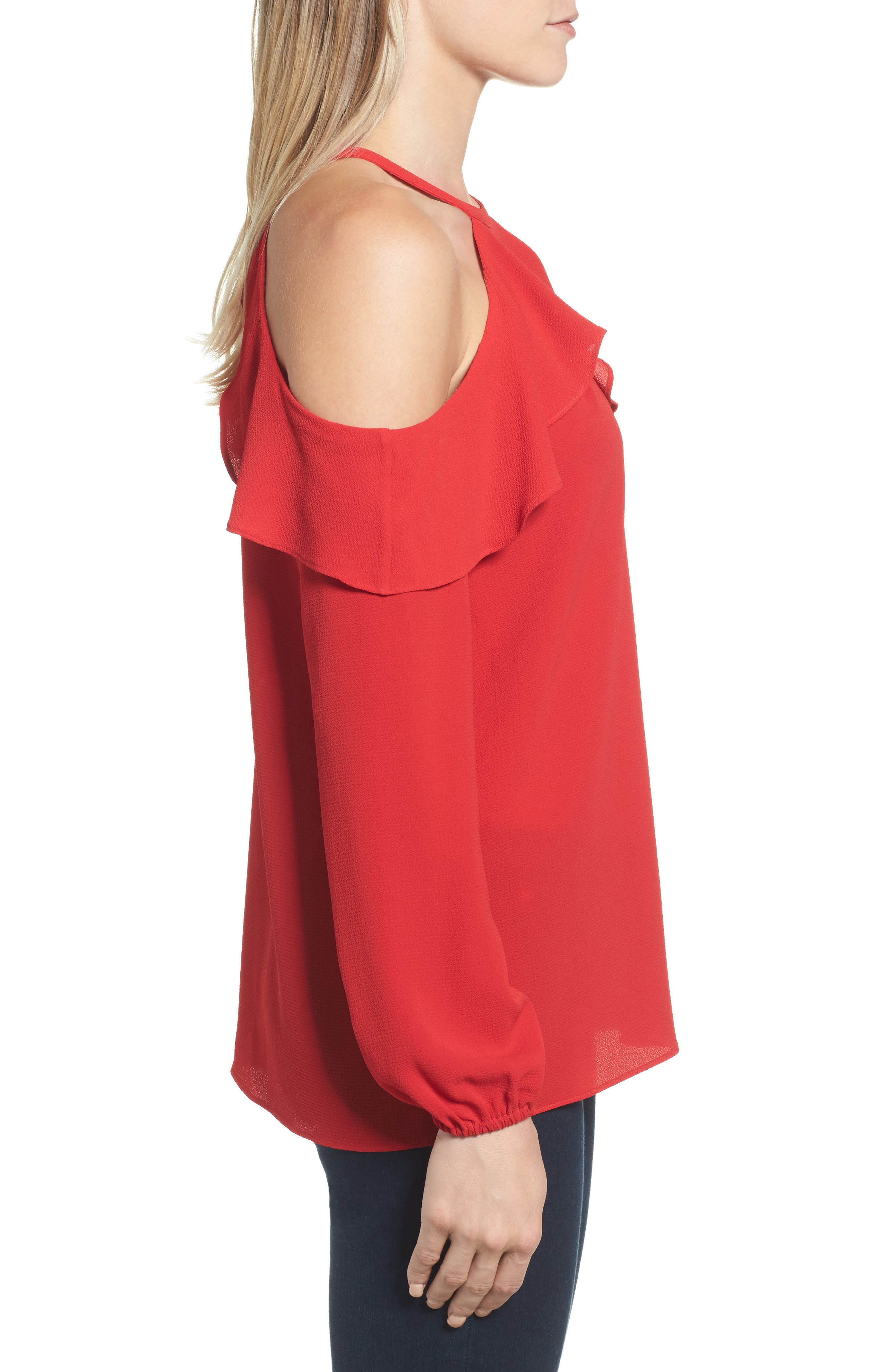 Cold Shoulder Ruffle Top,                             Alternate thumbnail 6, color,