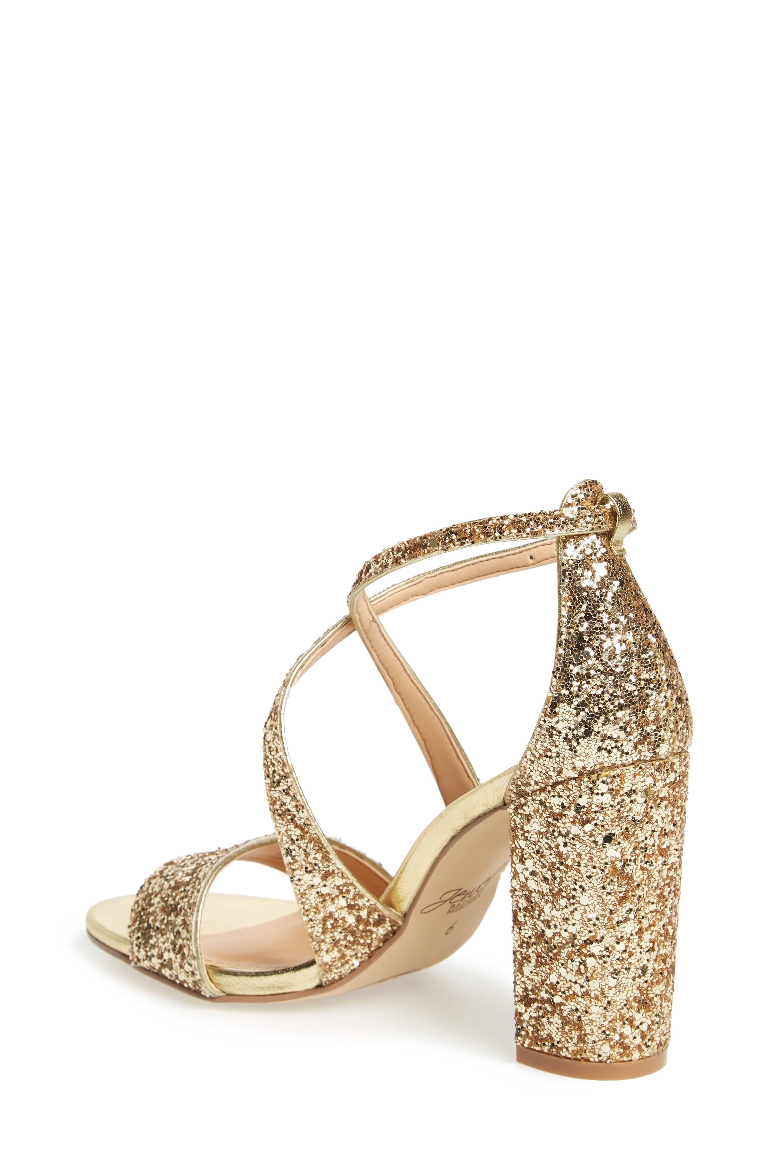 Cook Block Heel Glitter Sandal,                             Alternate thumbnail 2, color,                             GOLD LEATHER