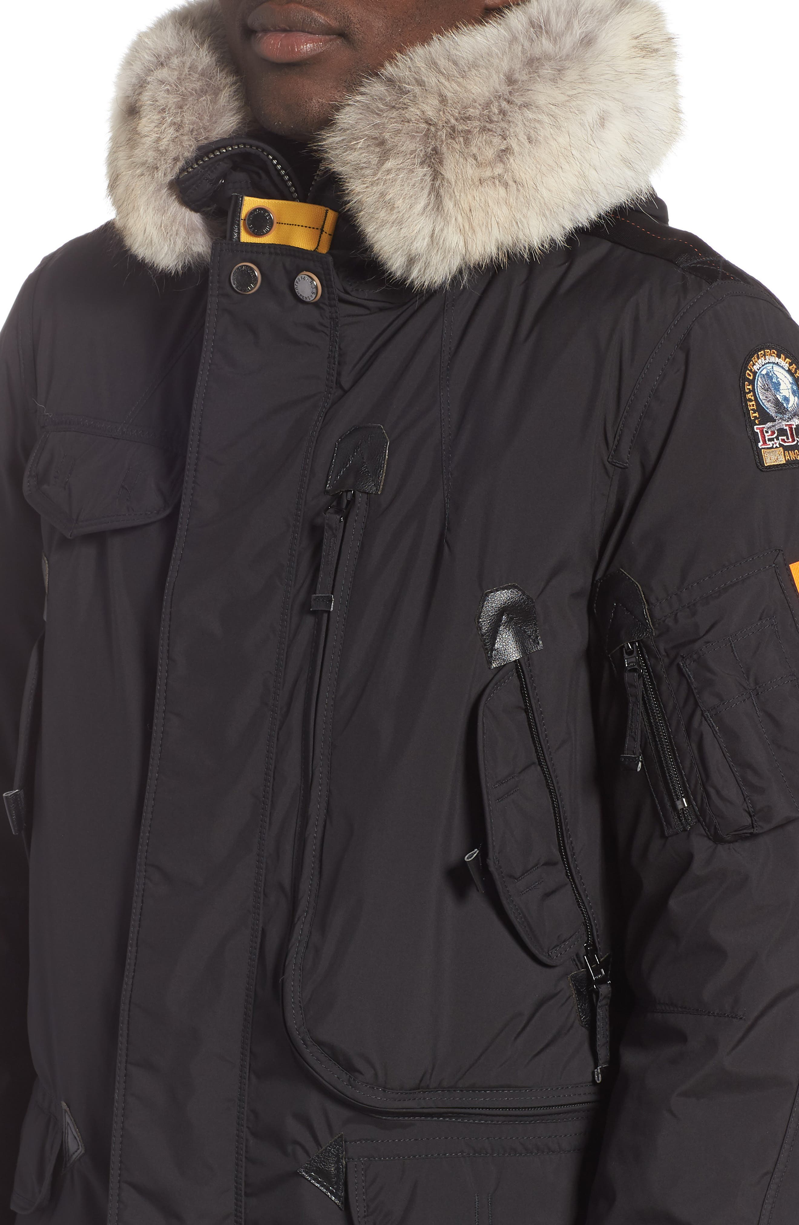 Right Hand Light 700 Fill Power Down Jacket with Genuine Coyote Fur Trim,                             Alternate thumbnail 4, color,                             BLACK
