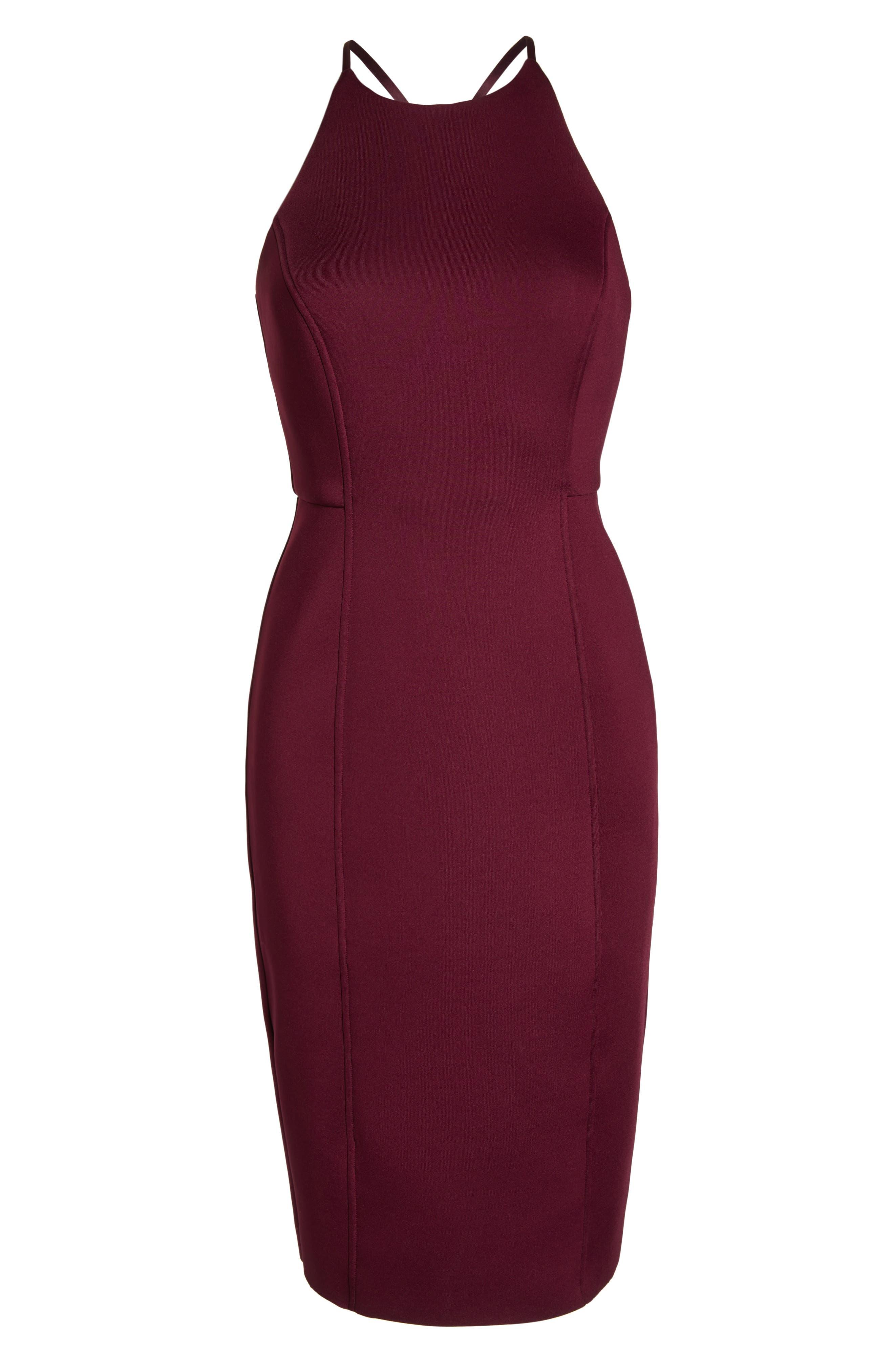 CHELSEA28,                             Scuba Sheath Dress,                             Alternate thumbnail 7, color,                             BURGUNDY
