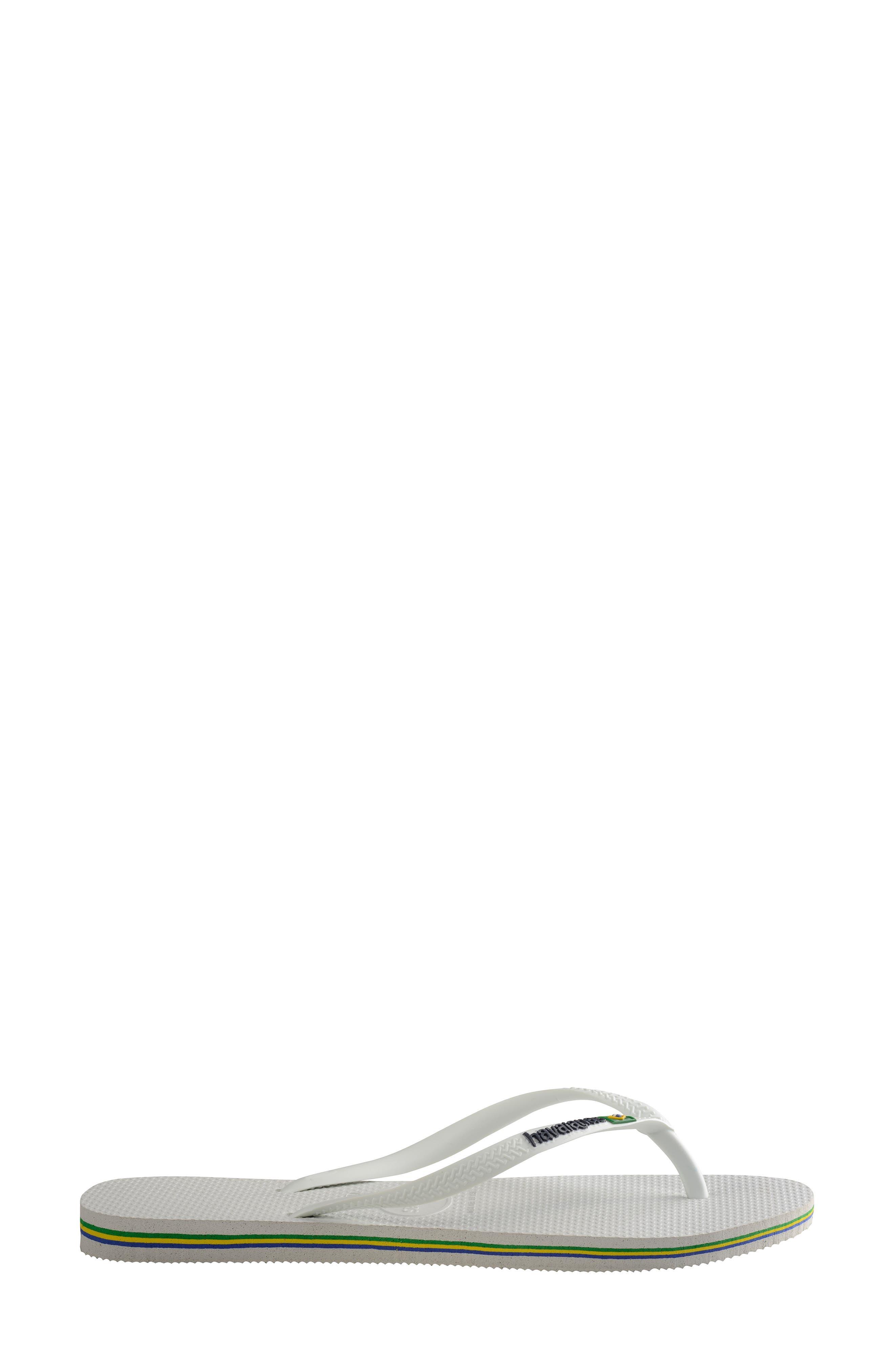 Slim Brazil Flip Flop,                             Alternate thumbnail 4, color,                             WHITE
