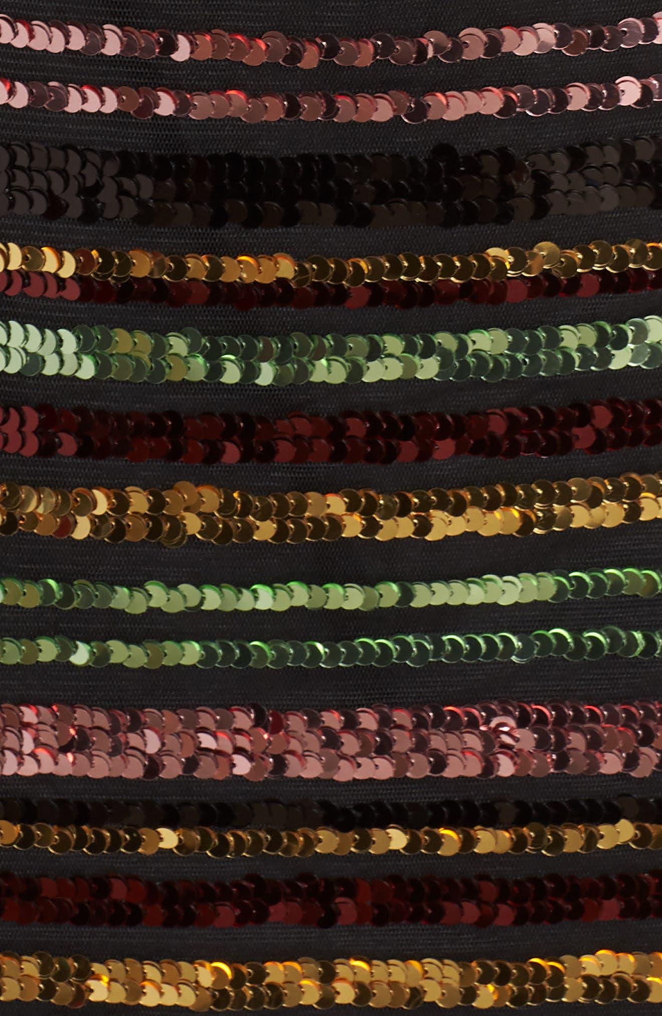Sequin Stripe Dress,                             Alternate thumbnail 6, color,                             SEQUIN PRINT