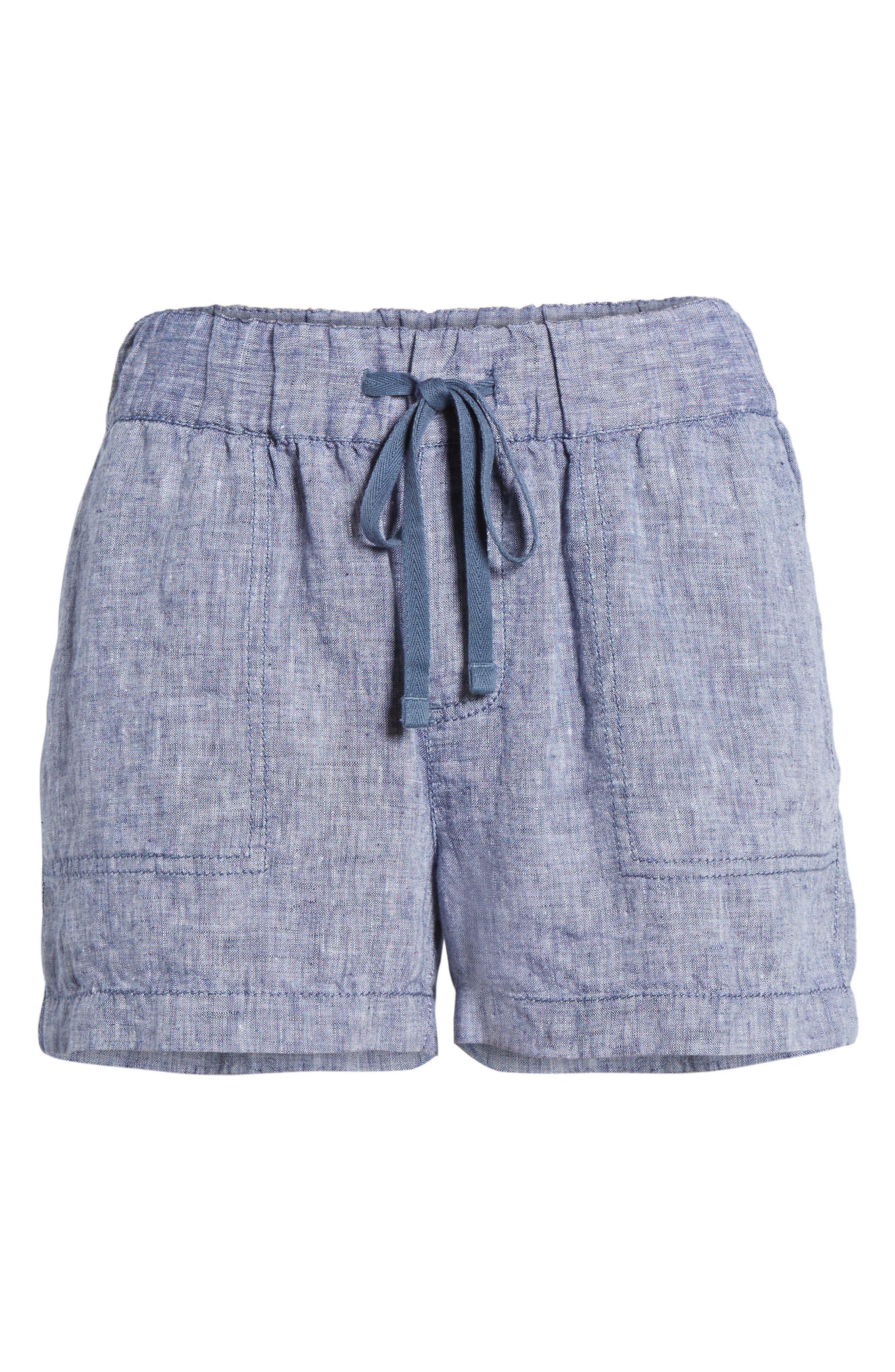 Linen Shorts,                             Alternate thumbnail 6, color,                             NAVY CROSSDYE