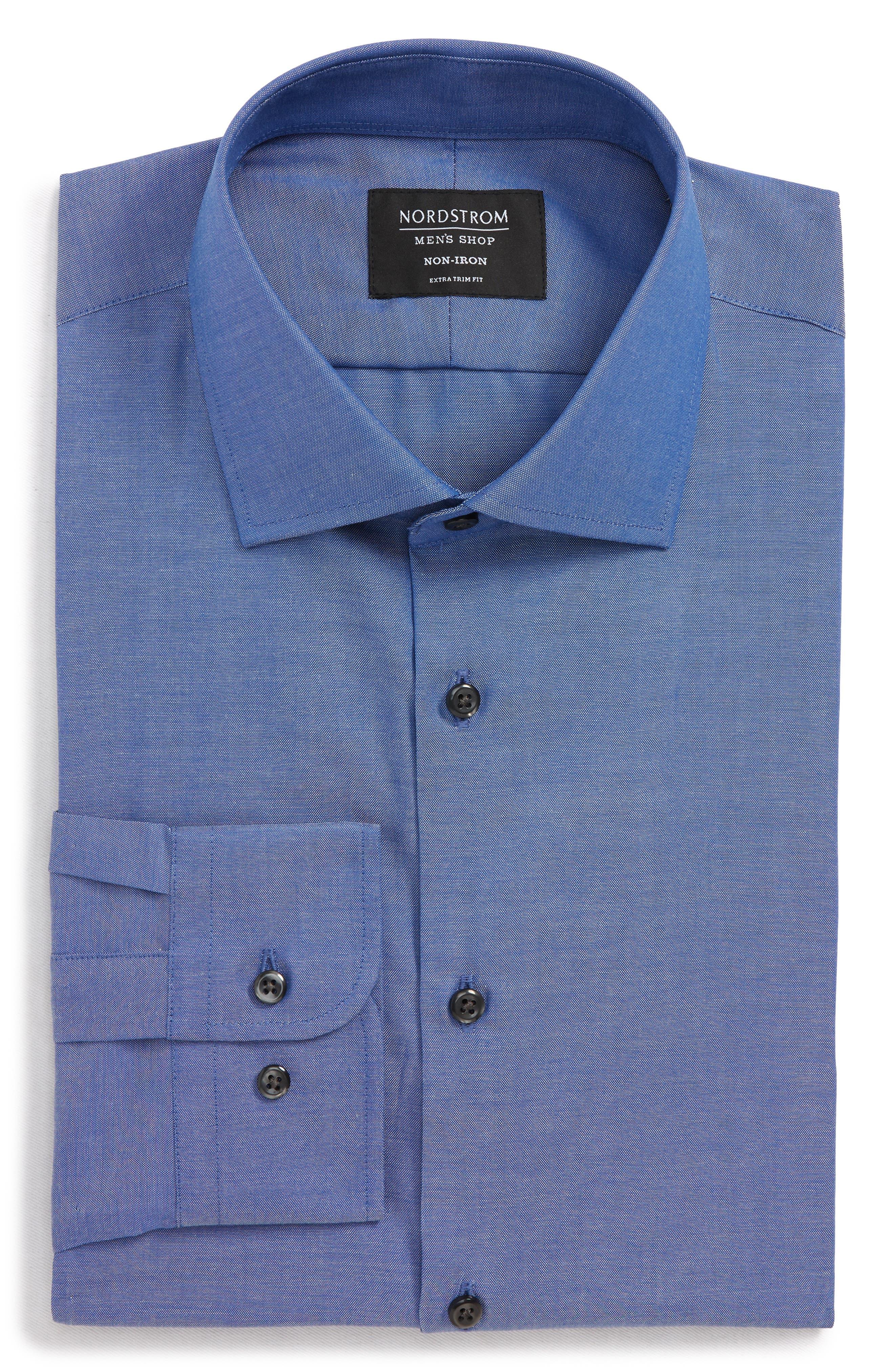 Extra Trim Fit Non-Iron Solid Dress Shirt,                             Alternate thumbnail 5, color,                             BLUE DENIM