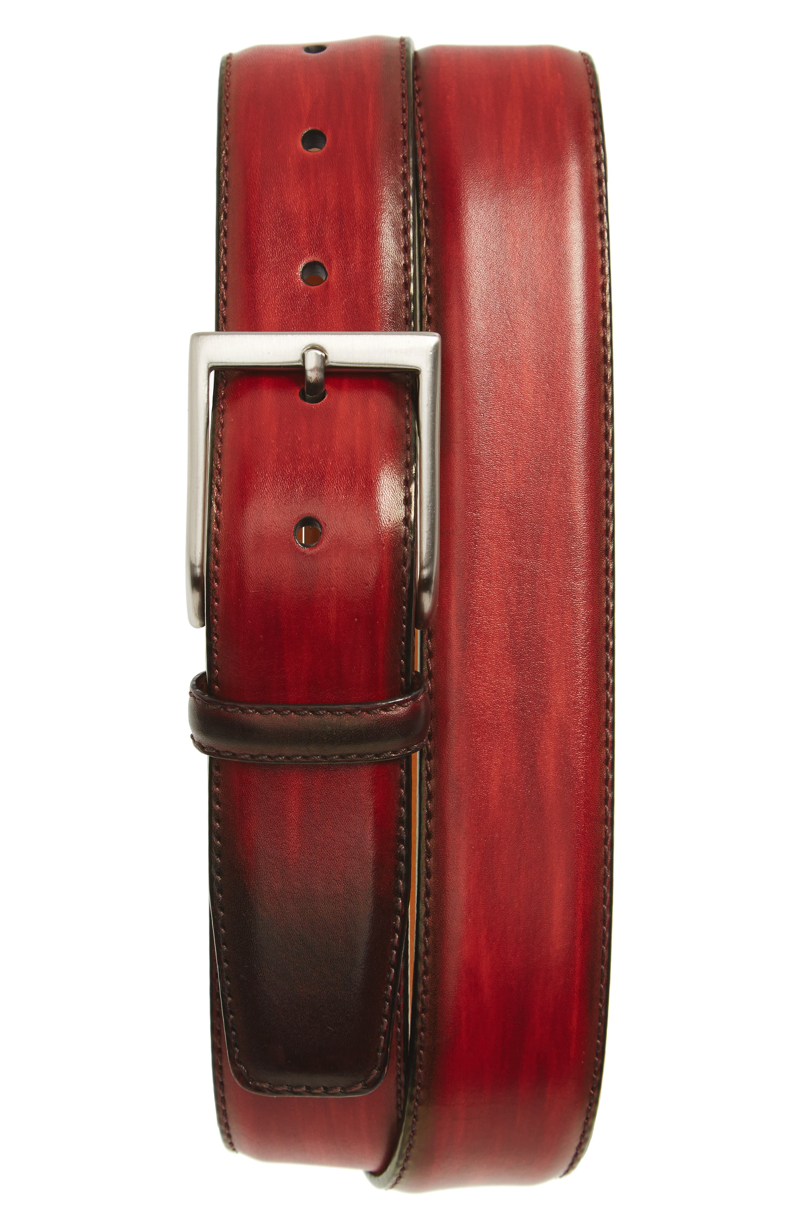 Arcade Leather Belt,                             Main thumbnail 1, color,                             RED