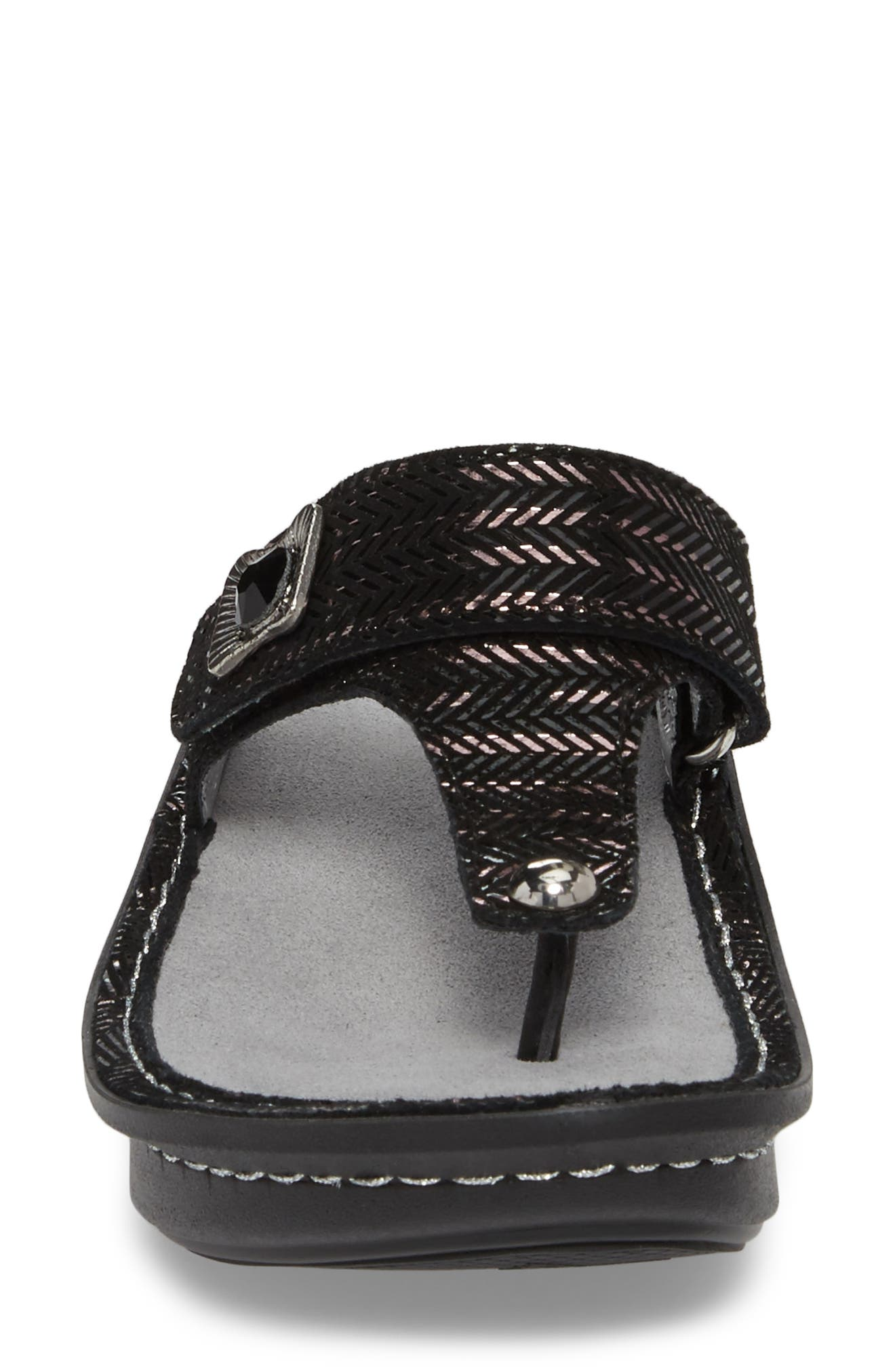 'Carina' Sandal,                             Alternate thumbnail 4, color,                             CHAINED BLACK LEATHER