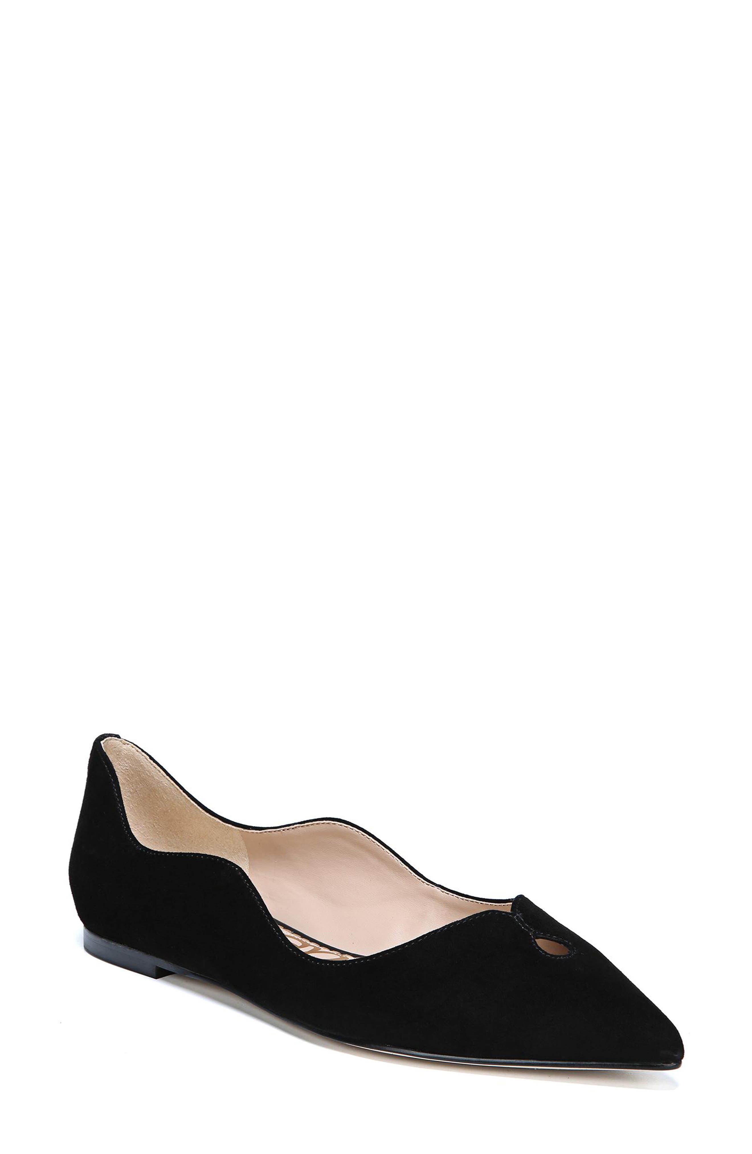 Rosalie Flat,                         Main,                         color, BLACK SUEDE