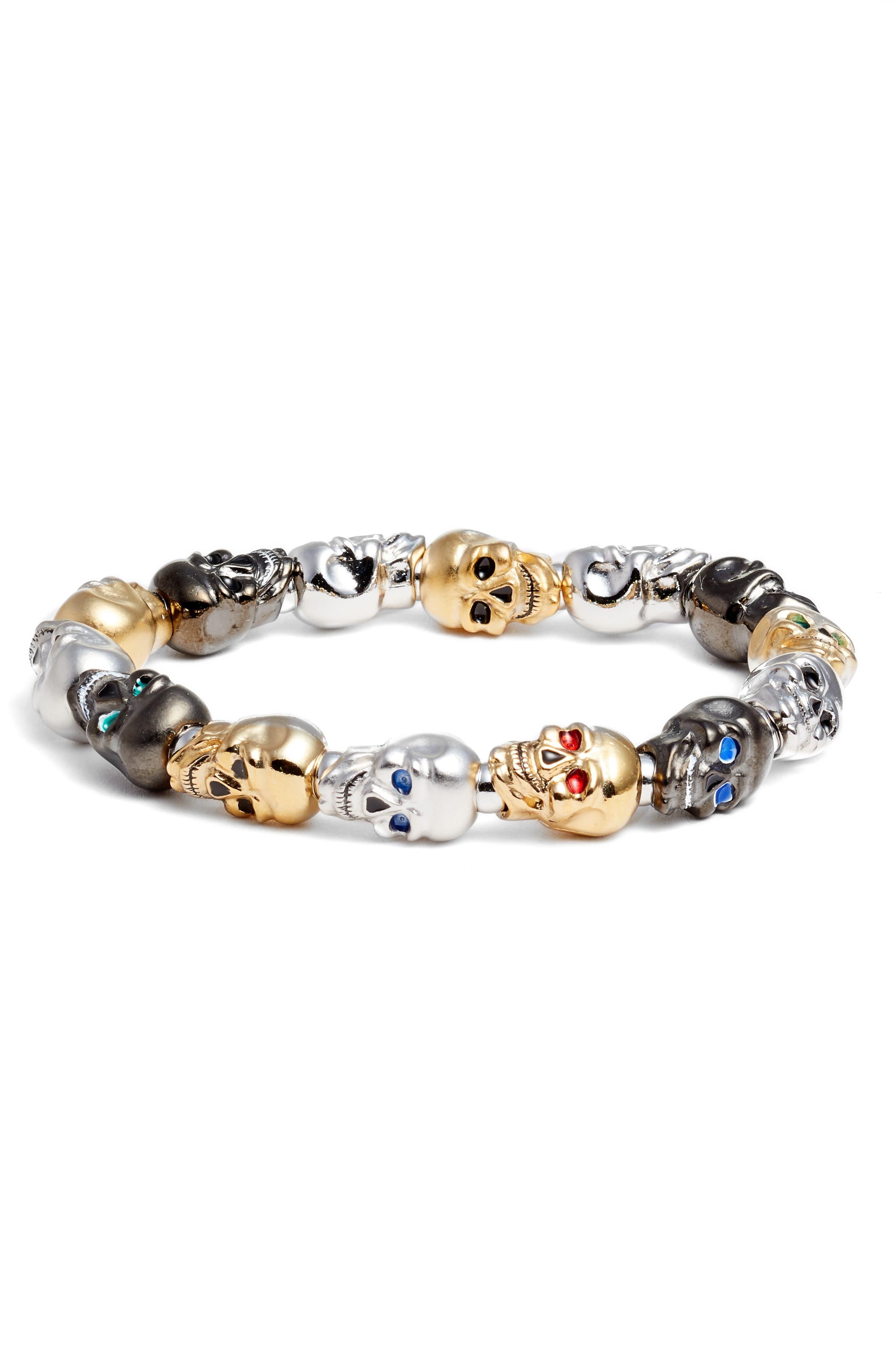 Skulls Large Stretch Bracelet,                         Main,                         color, MULTI