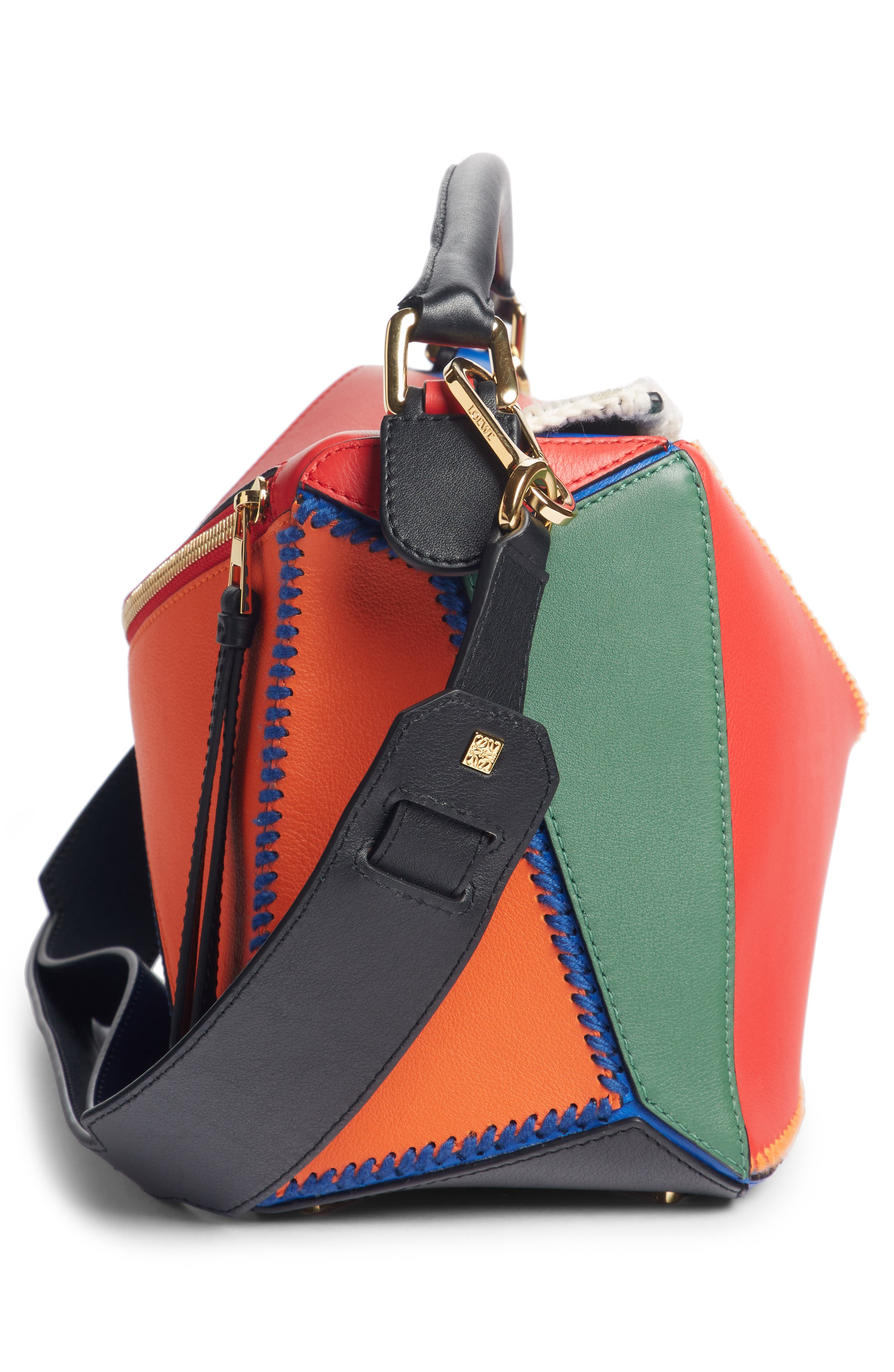 Puzzle Calfskin Leather Bag,                             Alternate thumbnail 4, color,                             RED MULTI