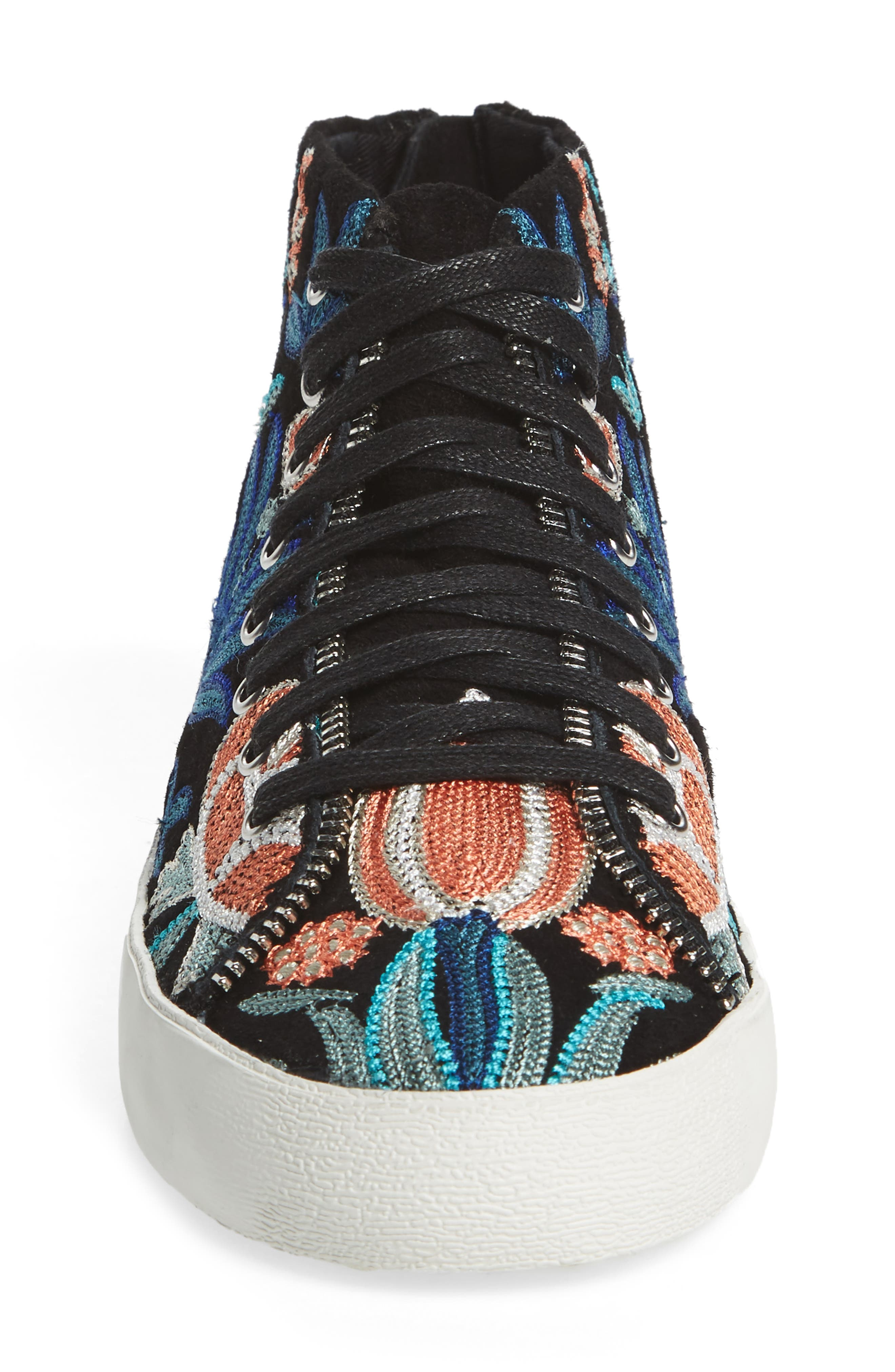 Zaina Embroidered Sneaker,                             Alternate thumbnail 4, color,                             004