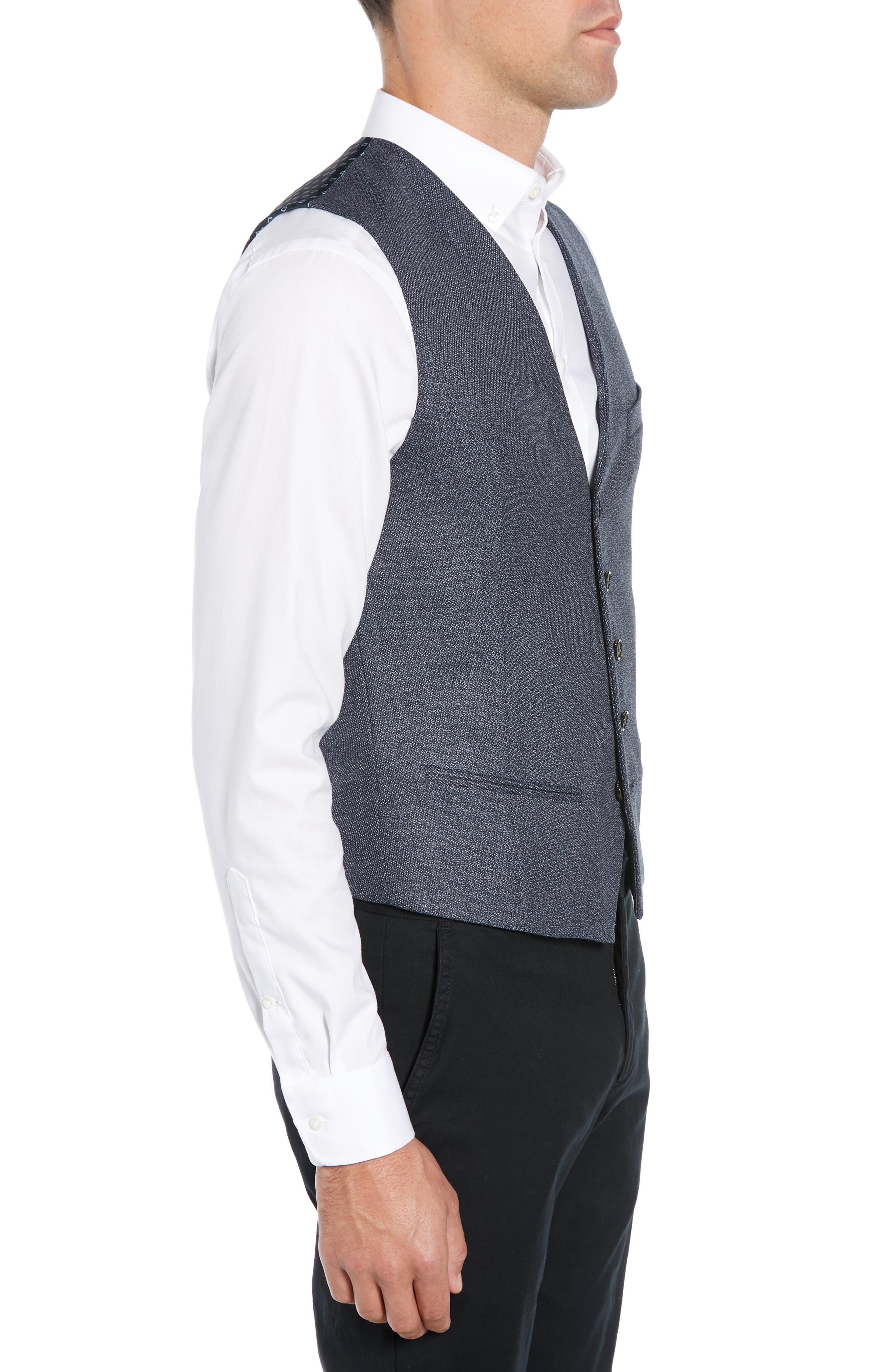 Slim Fit Bufwai Twill Vest,                             Alternate thumbnail 3, color,                             BLUE