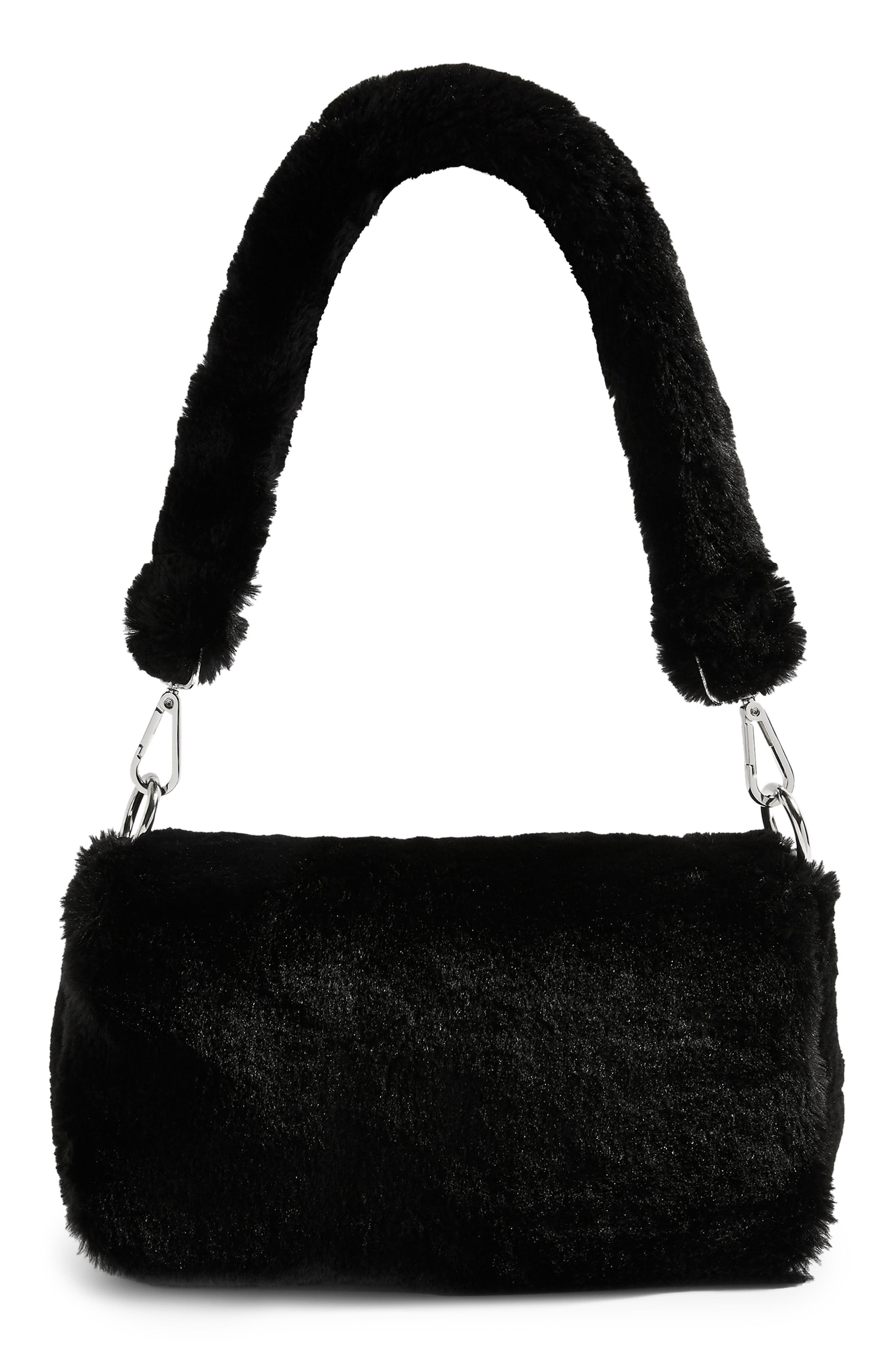 Cici Faux Fur Shoulder Bag,                             Main thumbnail 1, color,                             BLACK