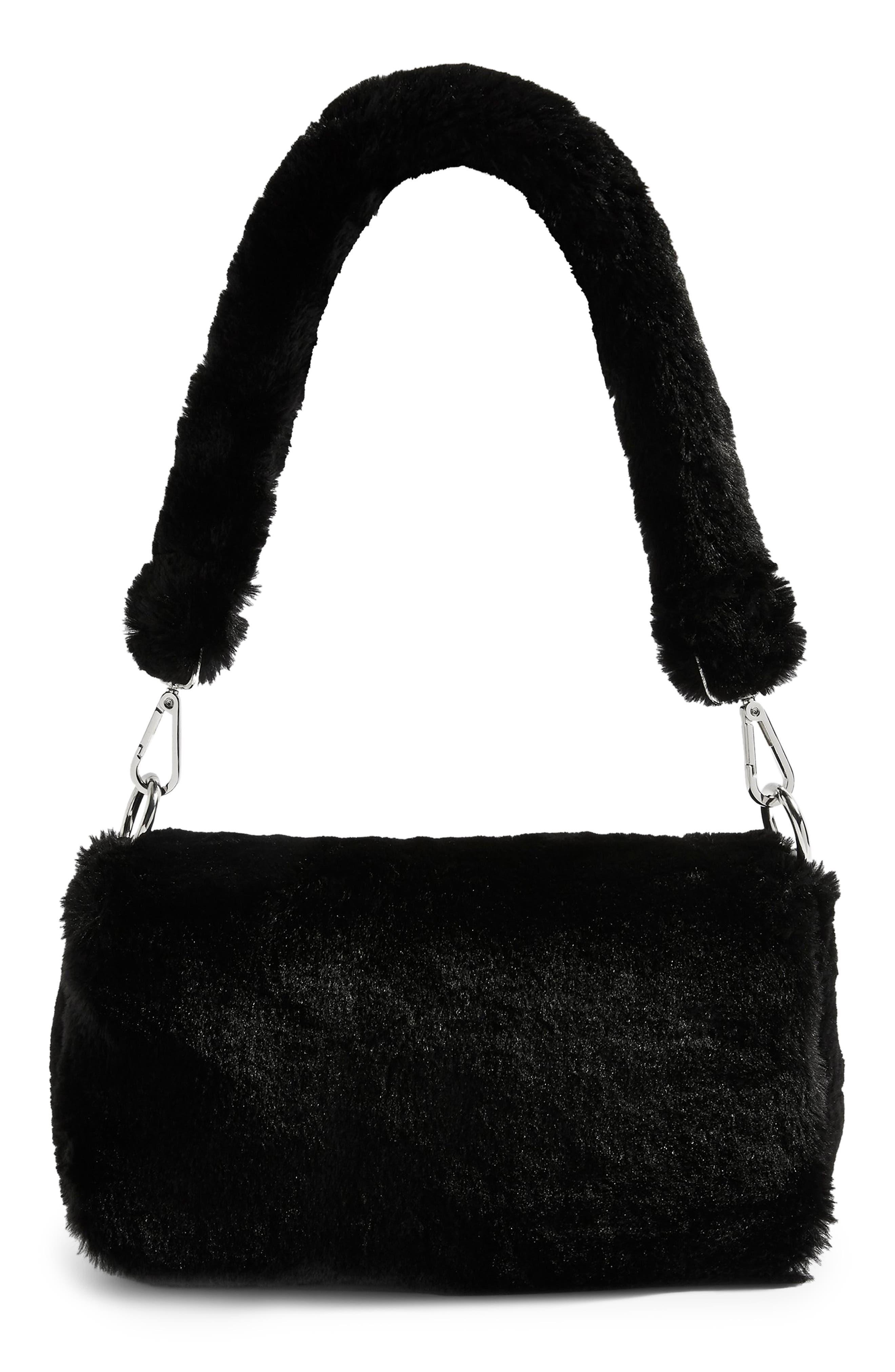 Cici Faux Fur Shoulder Bag, Main, color, BLACK