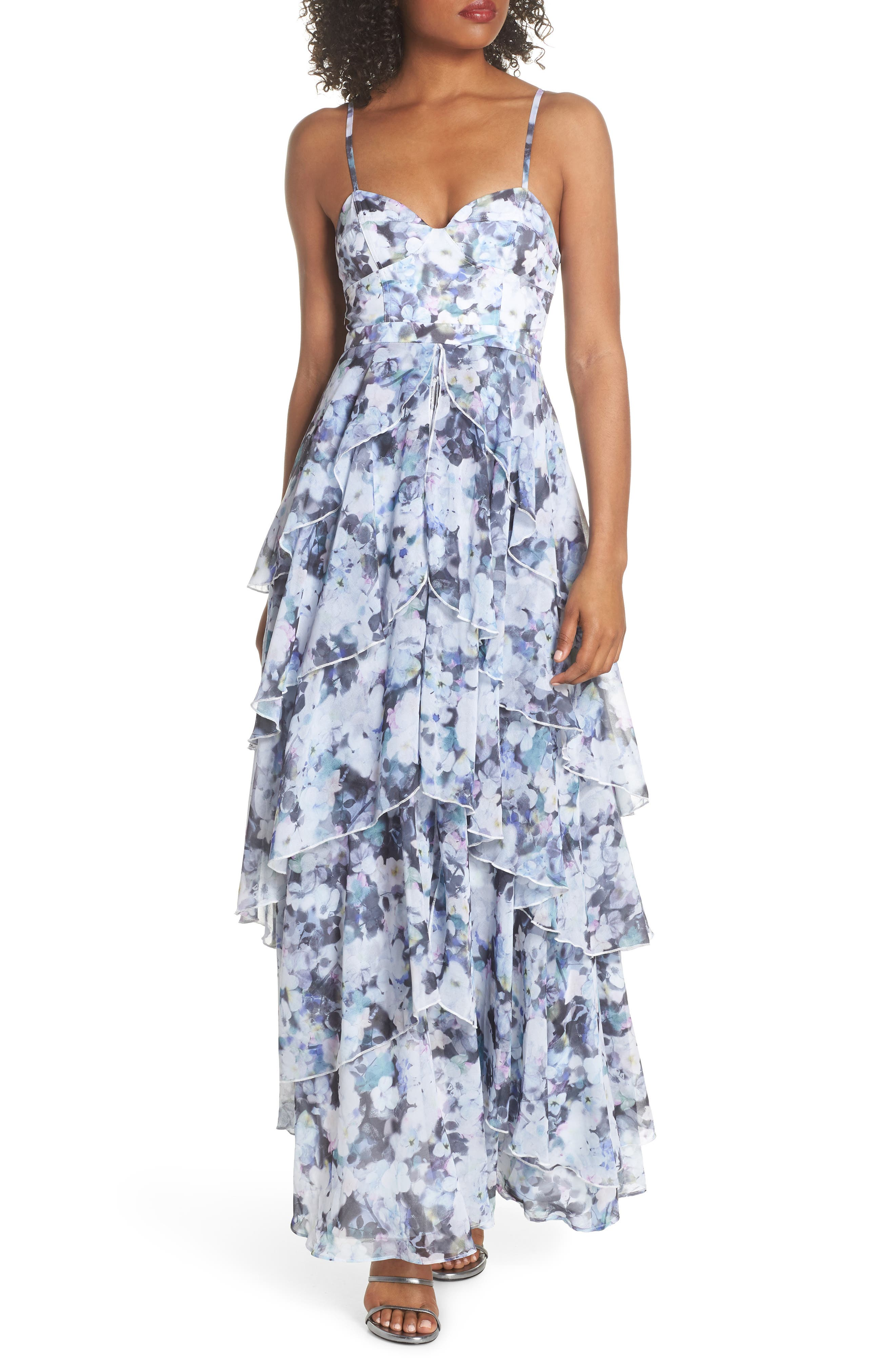 Catherine Floral Print Gown,                             Main thumbnail 1, color,                             450