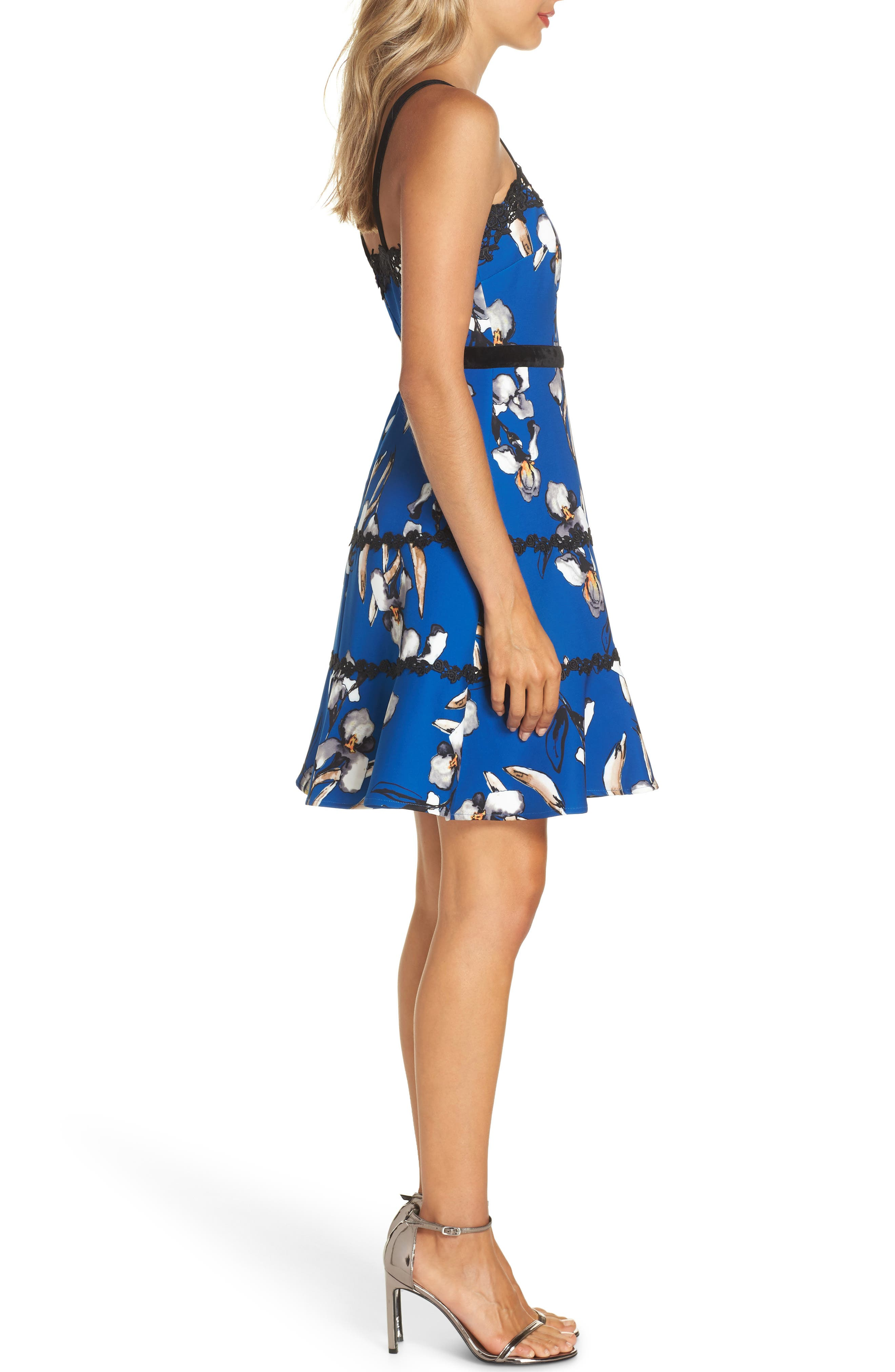 Carmella Lace Stripe Fit & Flare Dress,                             Alternate thumbnail 3, color,                             CARMELLA MULTI