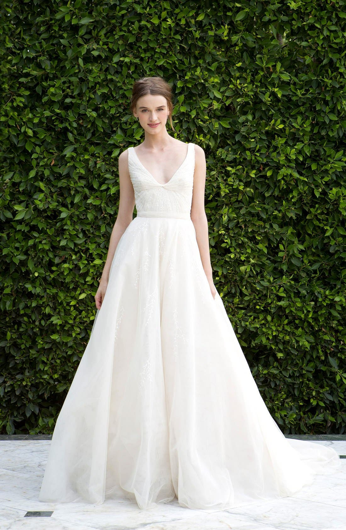 Scoop Neck Ruched Waist Lace & Tulle Ballgown,                             Alternate thumbnail 4, color,                             LATTE