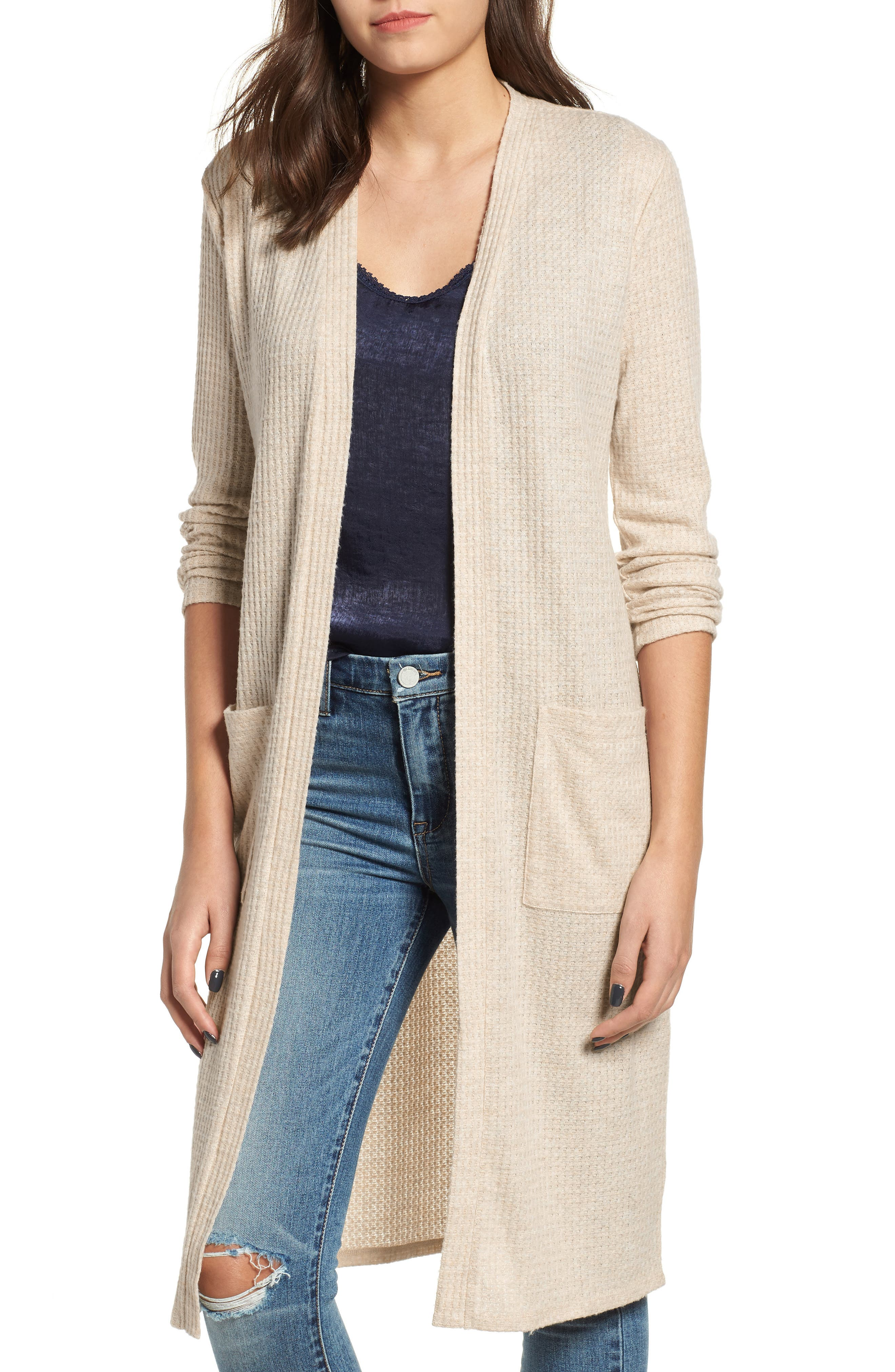 Waffle Knit Duster Cardigan,                             Main thumbnail 1, color,                             OATMEAL