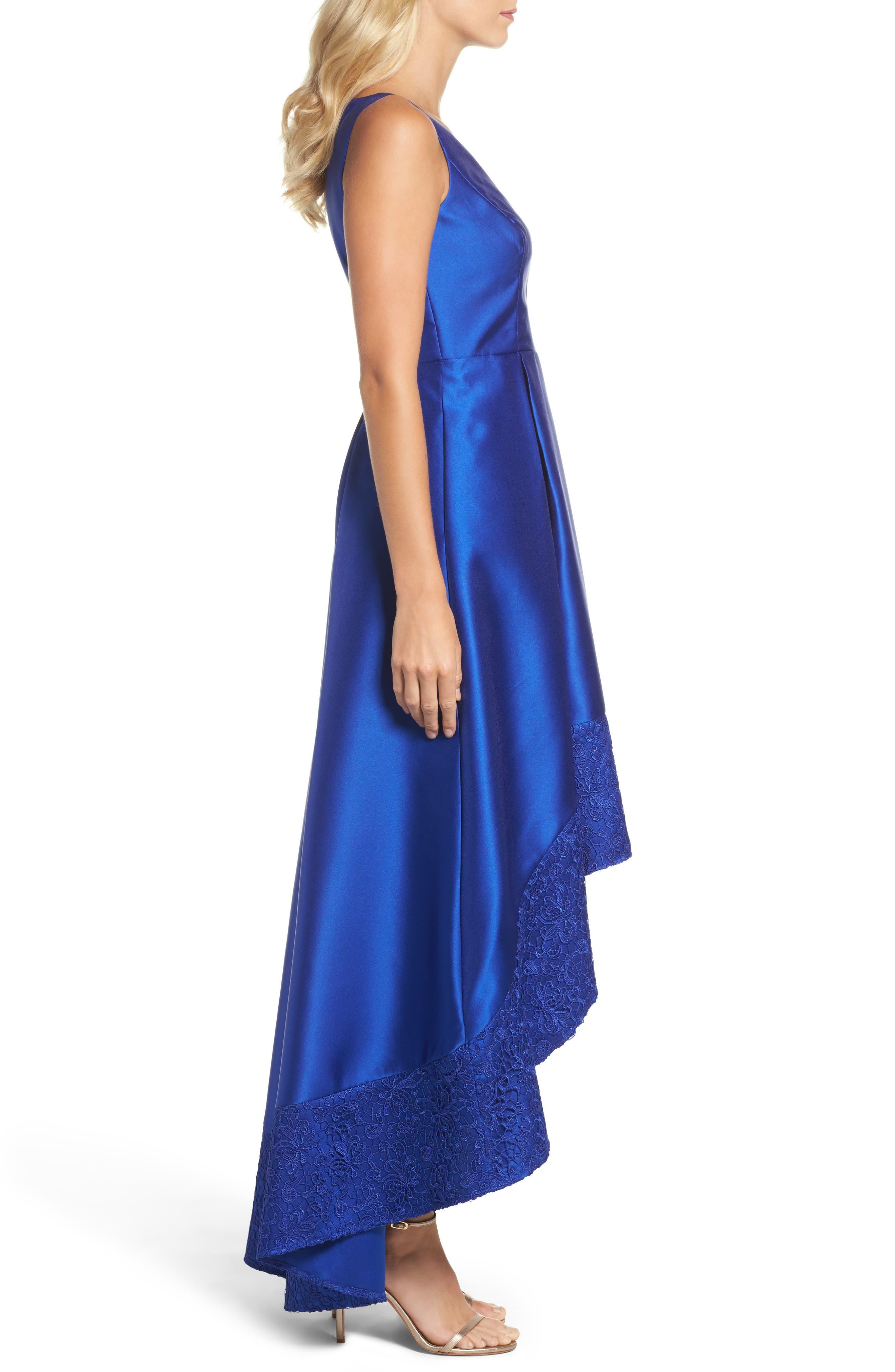 Lace Trim Mikado High/Low Gown,                             Alternate thumbnail 3, color,