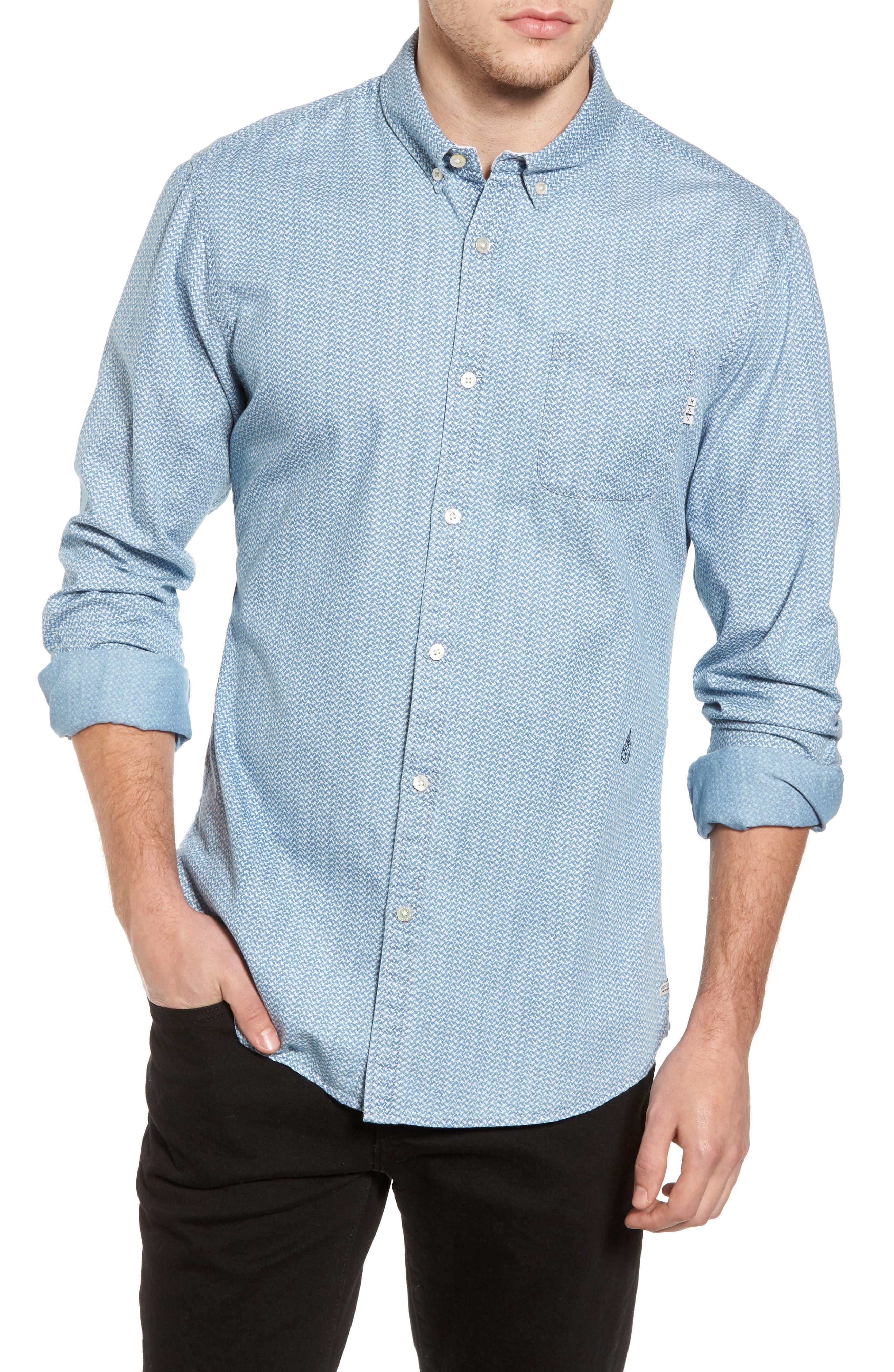 Print Woven Shirt,                         Main,                         color, 420