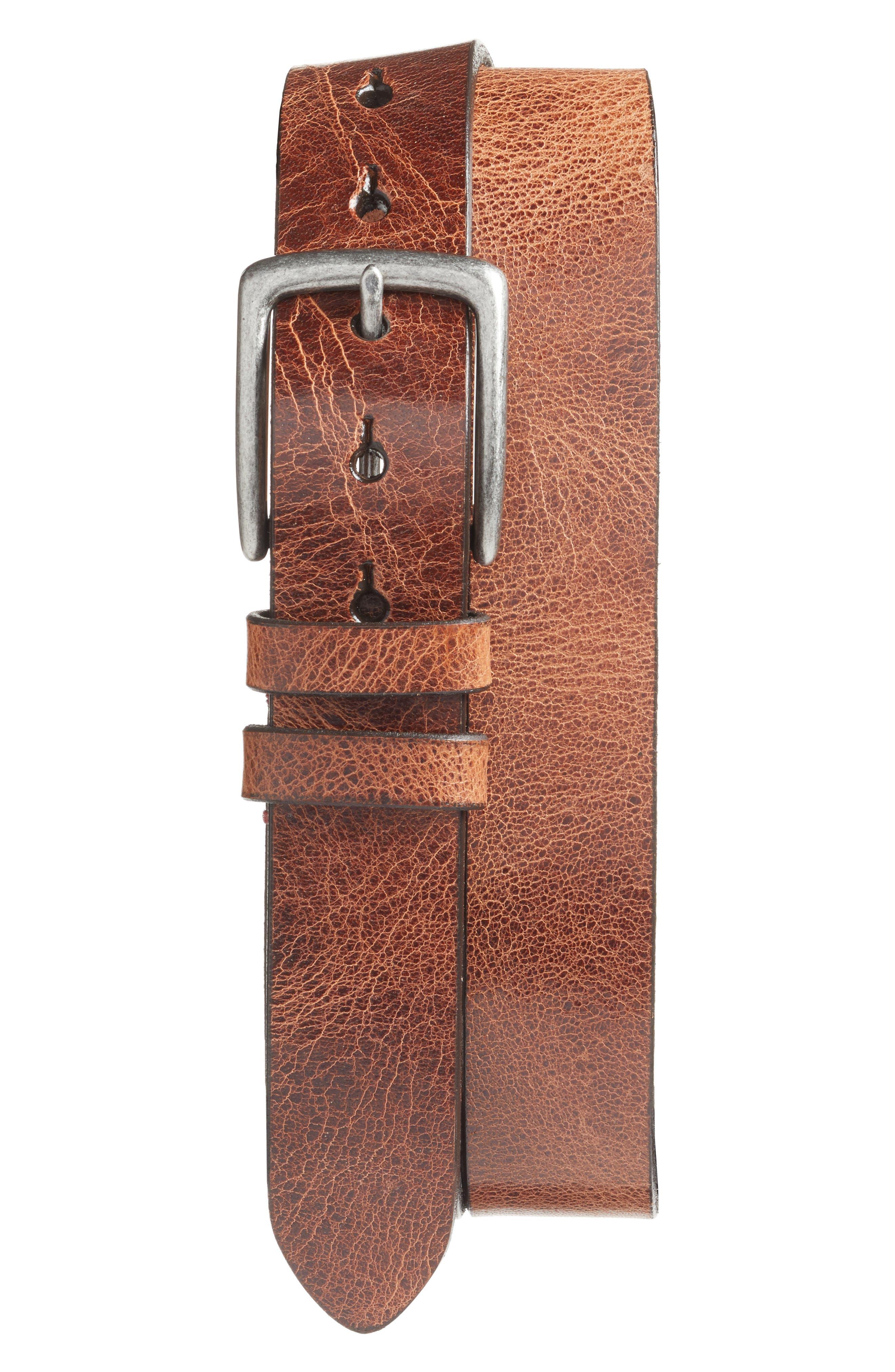 Leather Belt,                             Main thumbnail 1, color,                             HONEY