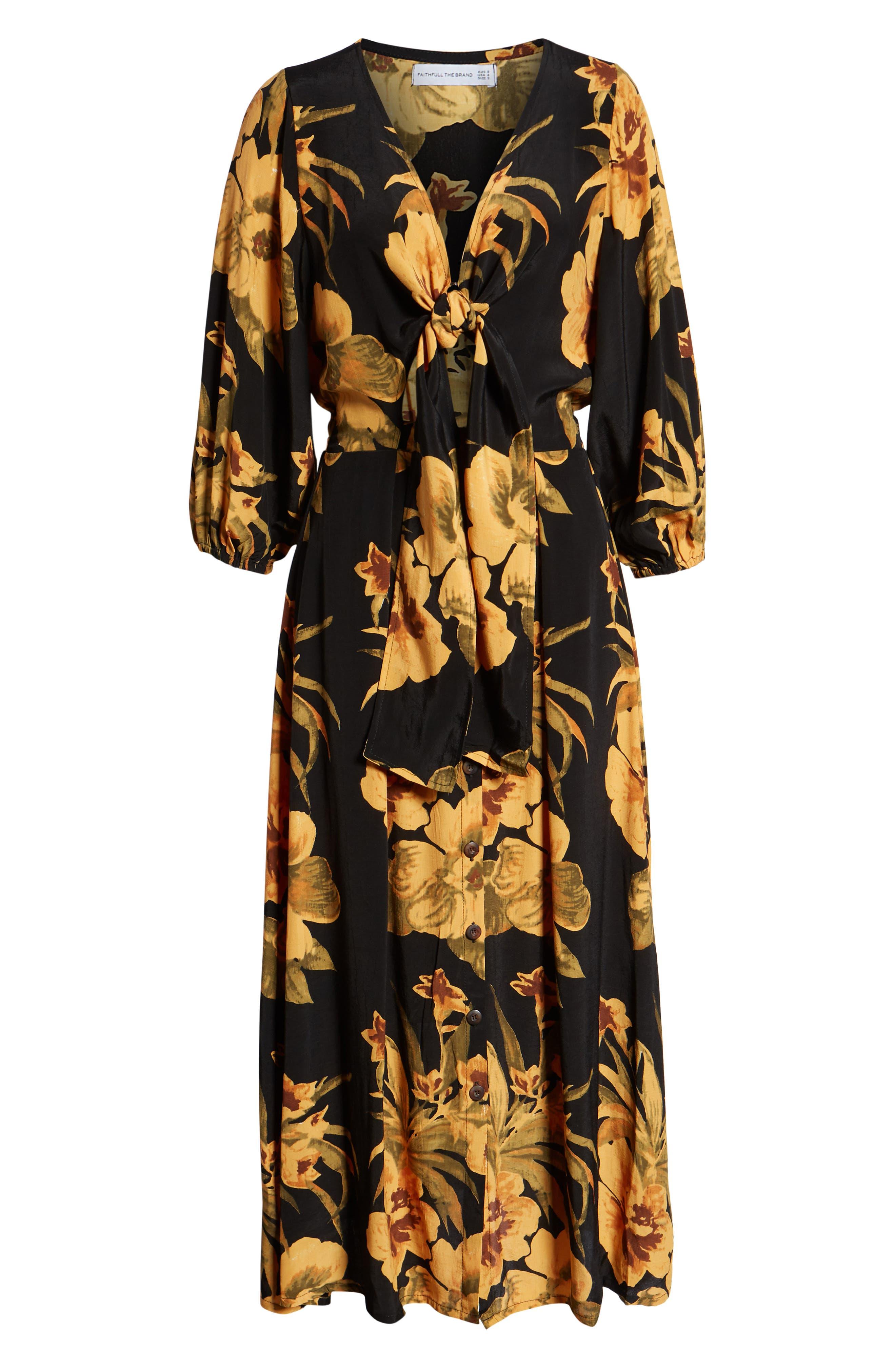 Oliviera Floral Print Cutout Midi Dress,                             Alternate thumbnail 4, color,                             CARIBBEAN PRINT