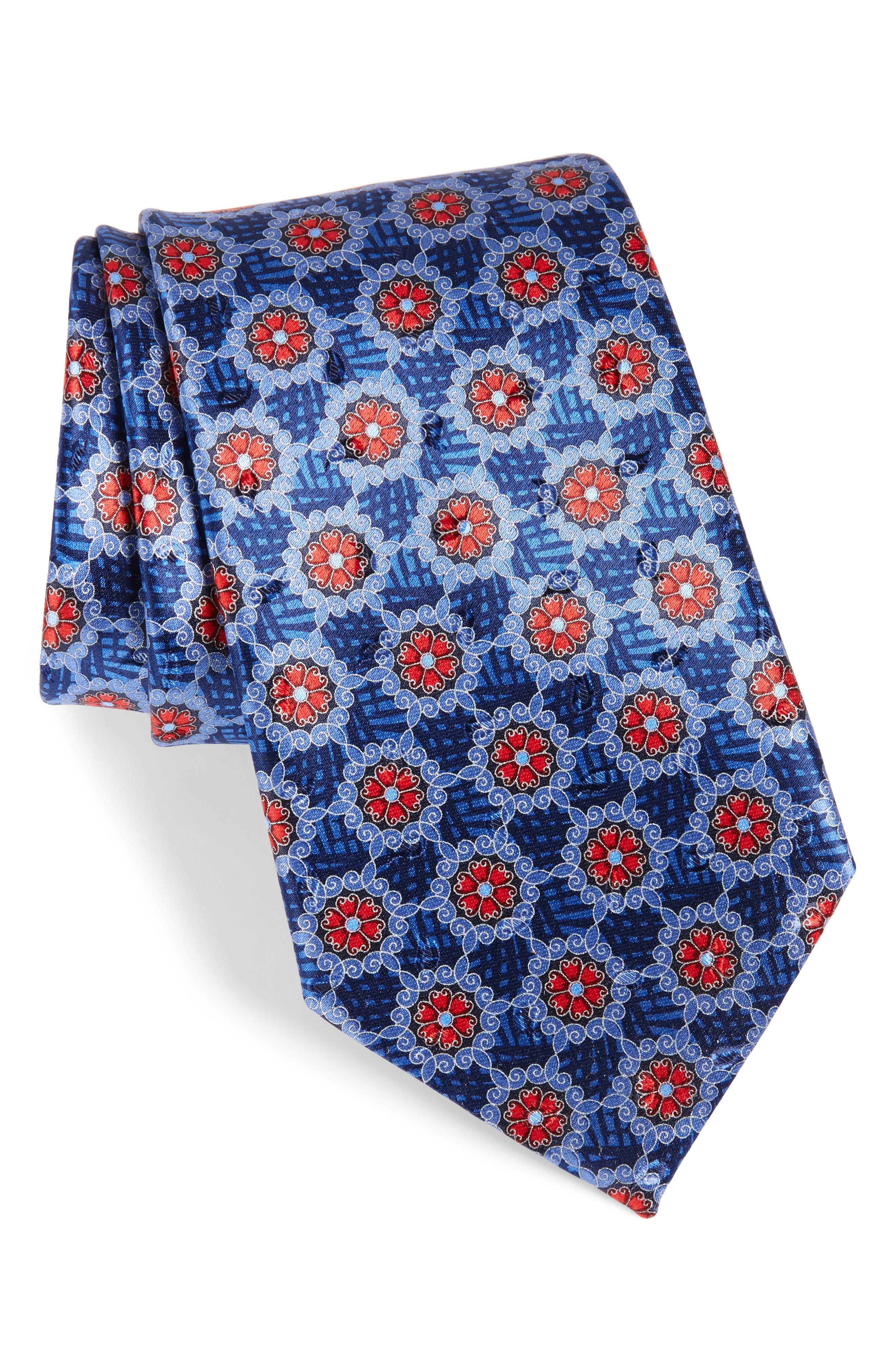 Medallion Silk Tie,                         Main,                         color, 418