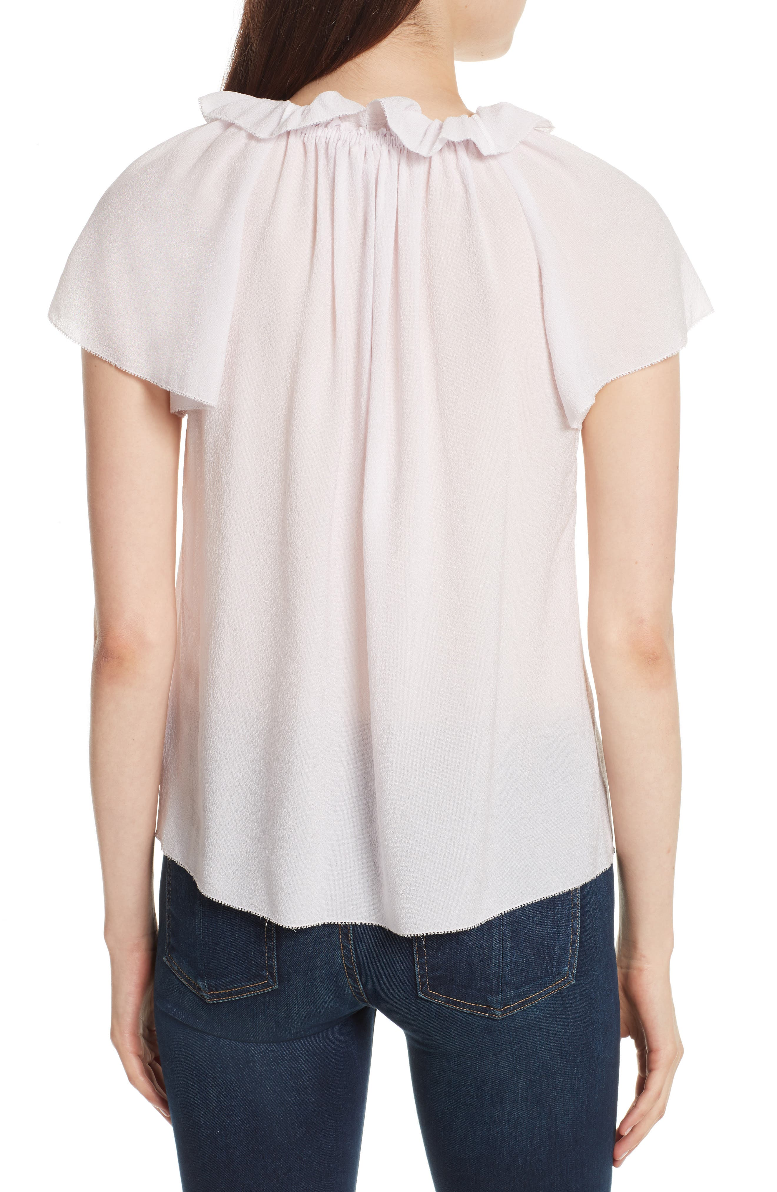 Ruffle Neck Silk Top,                             Alternate thumbnail 2, color,                             510