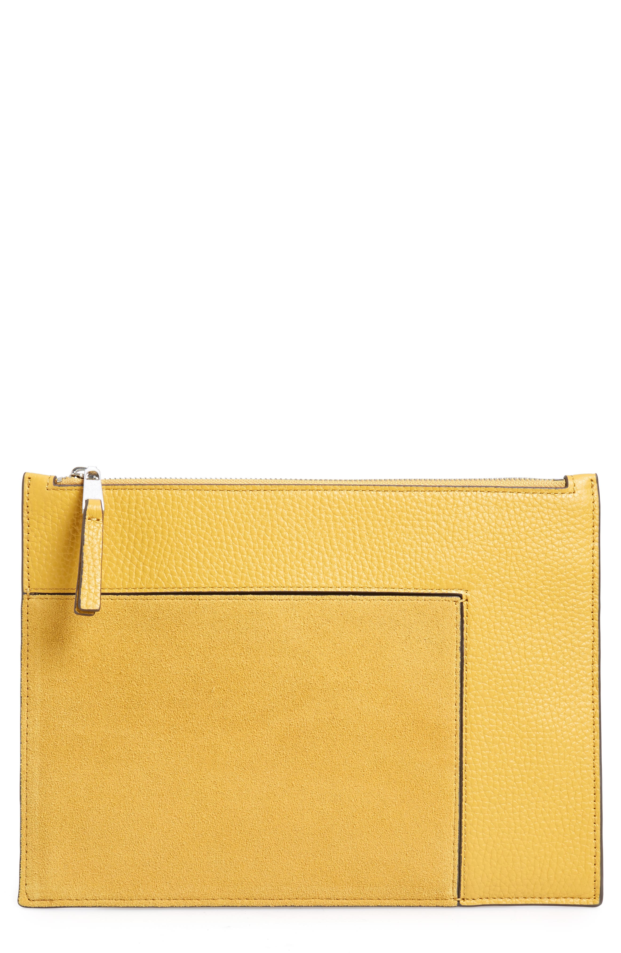 Dani Suede & Leather Pouch,                             Main thumbnail 1, color,                             YELLOW MINERAL