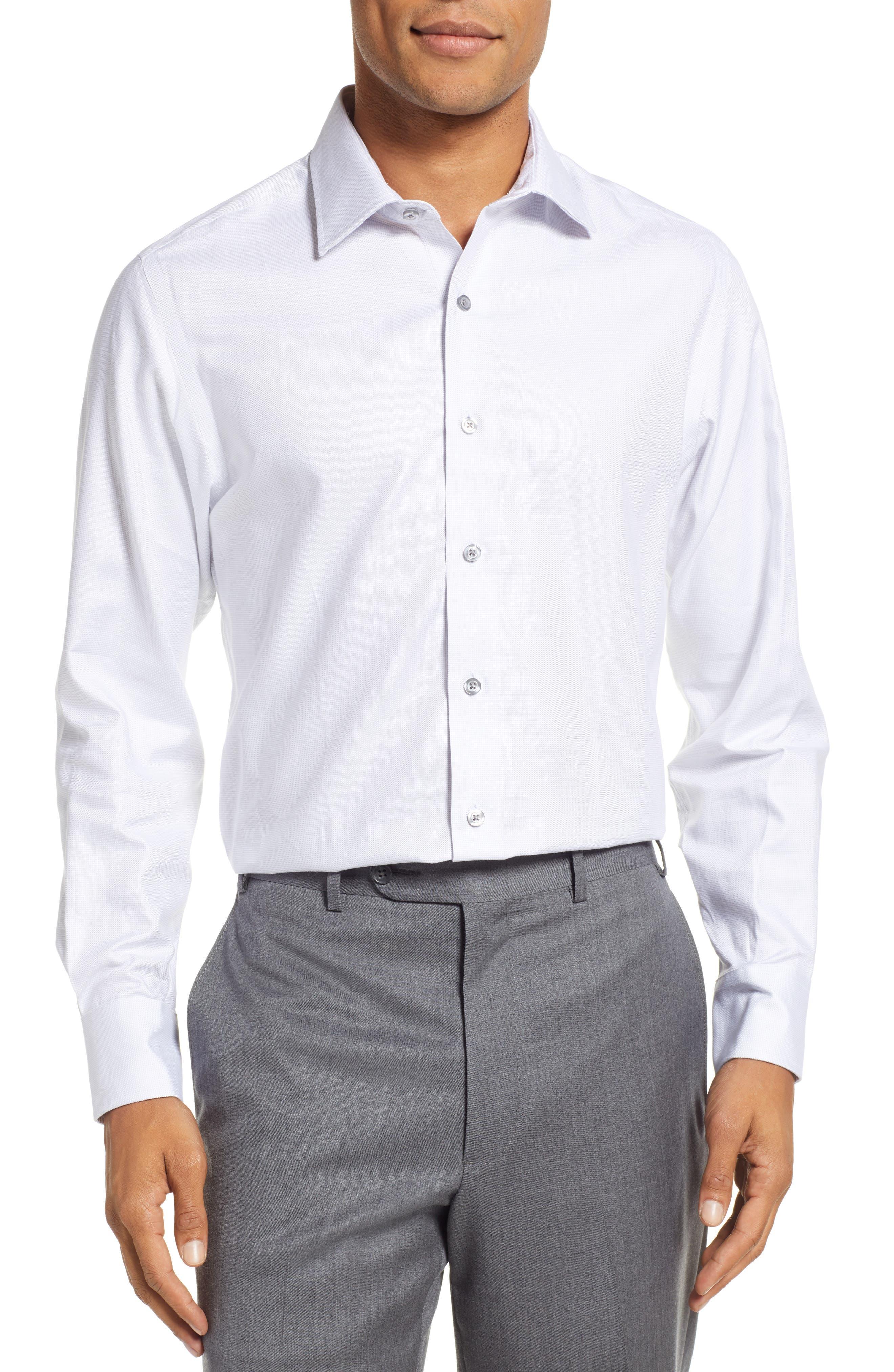 Slim Fit Solid Dress Shirt,                             Main thumbnail 1, color,                             GREY DOBBY