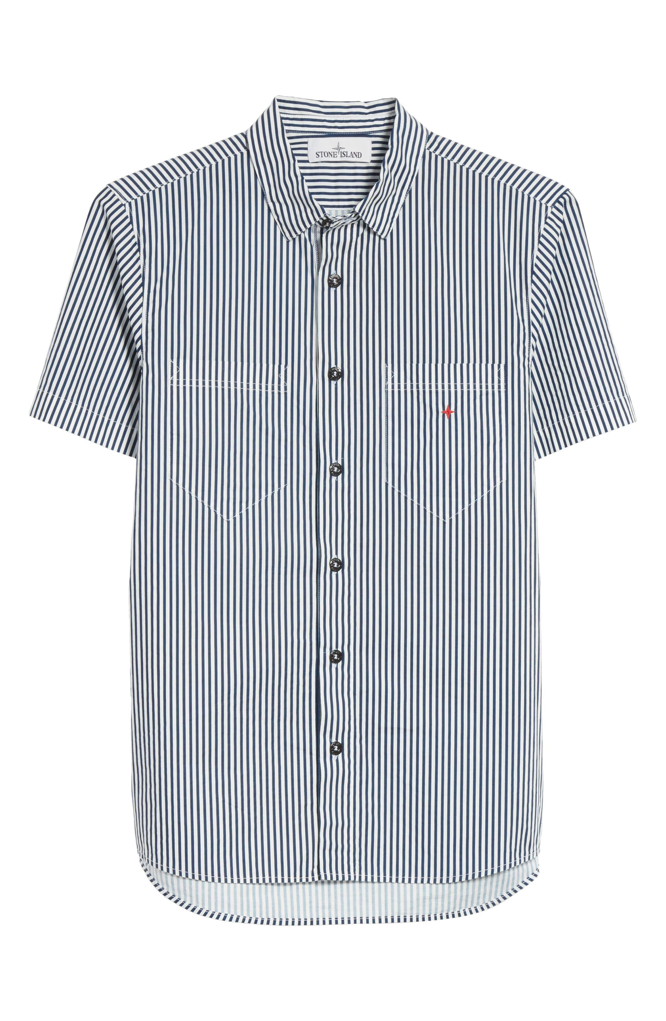 STONE ISLAND,                             Stripe Woven Shirt,                             Alternate thumbnail 6, color,                             100